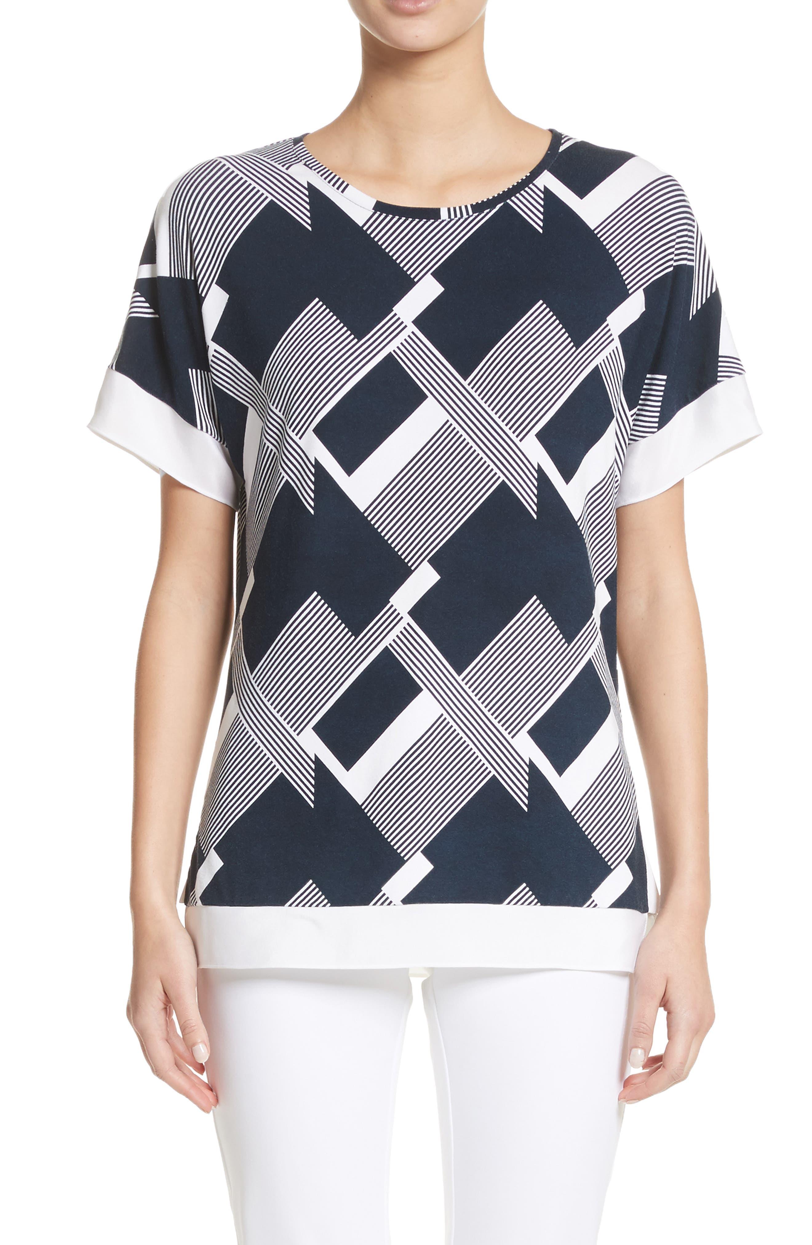 Geometric Line Print Tee,                         Main,                         color, Navy/ Bianco