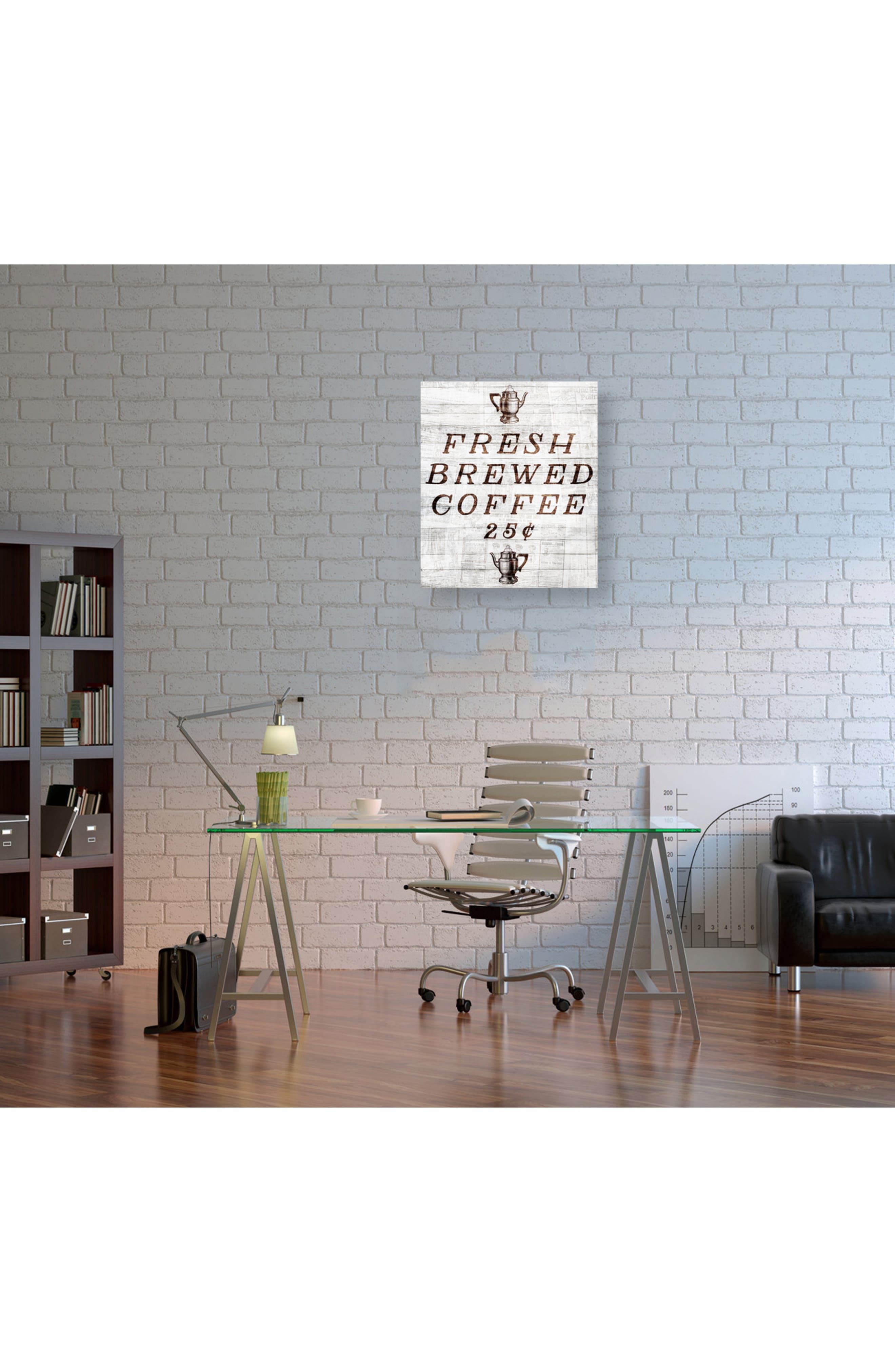 Fresh Brewed Coffee Canvas Wall Art,                             Alternate thumbnail 2, color,                             Beige