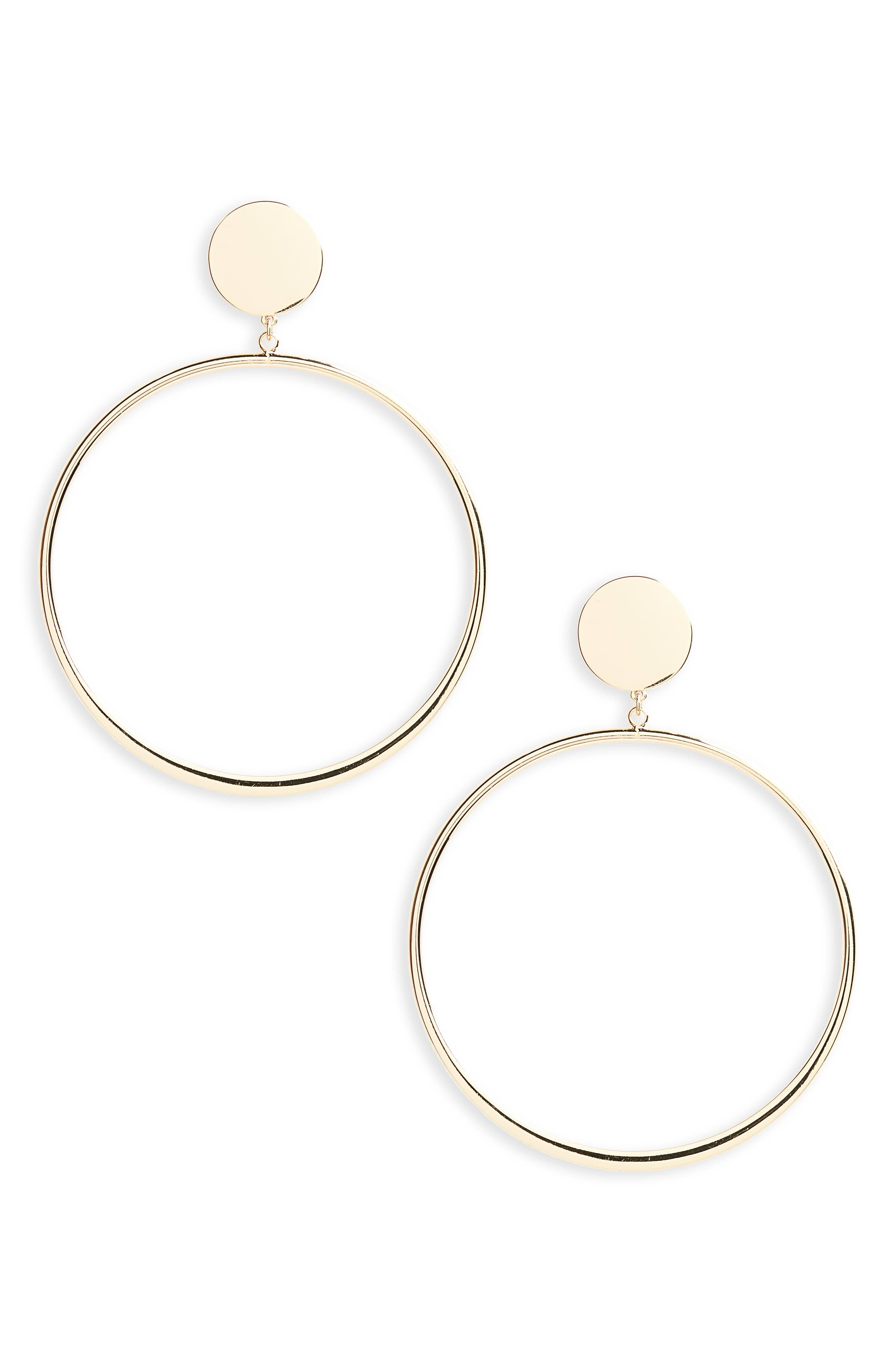 Circle Hoop Earrings,                         Main,                         color, Gold