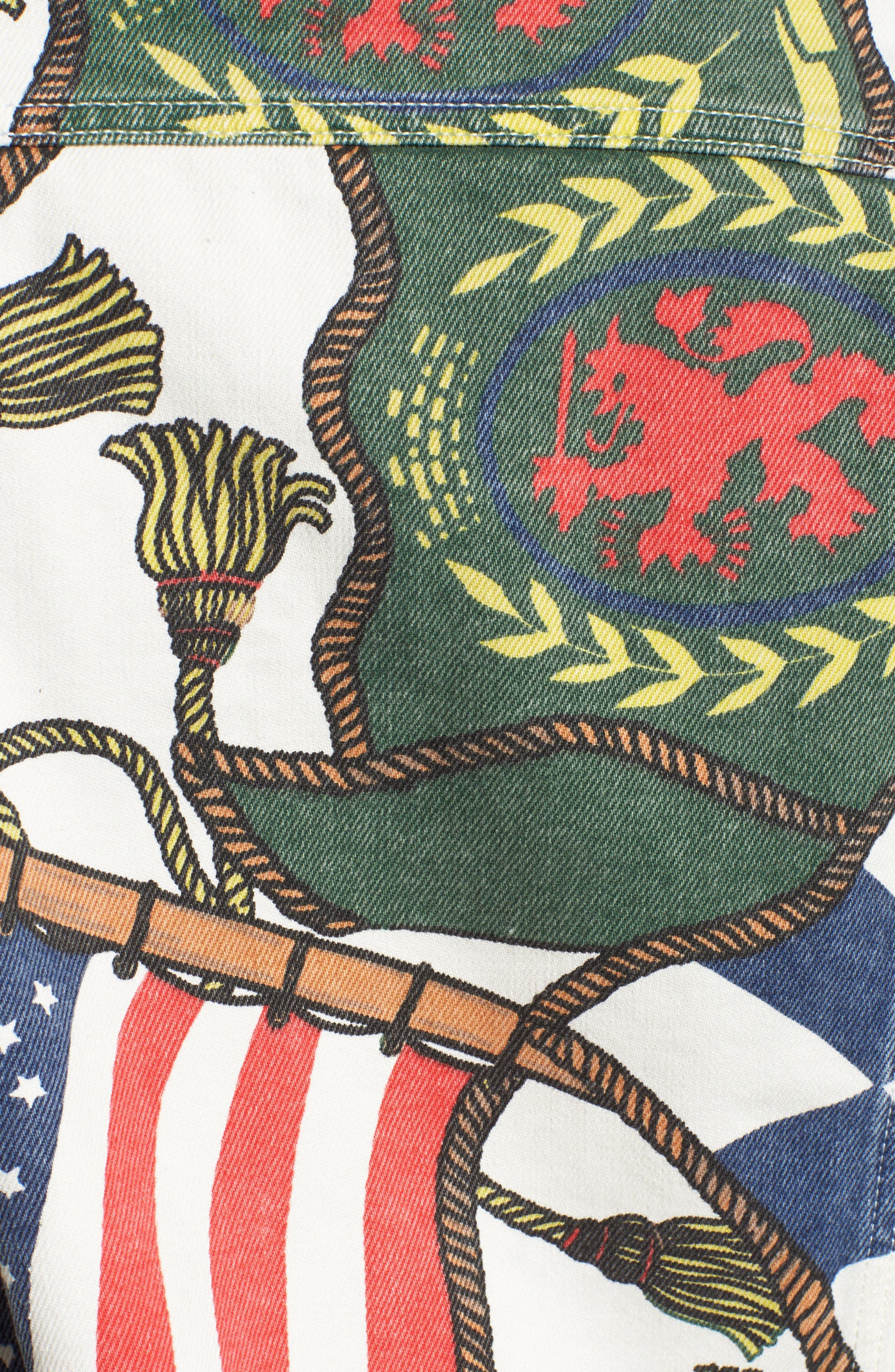 '90s Flag Print Denim Jacket,                             Alternate thumbnail 6, color,                             Bright White / Multi