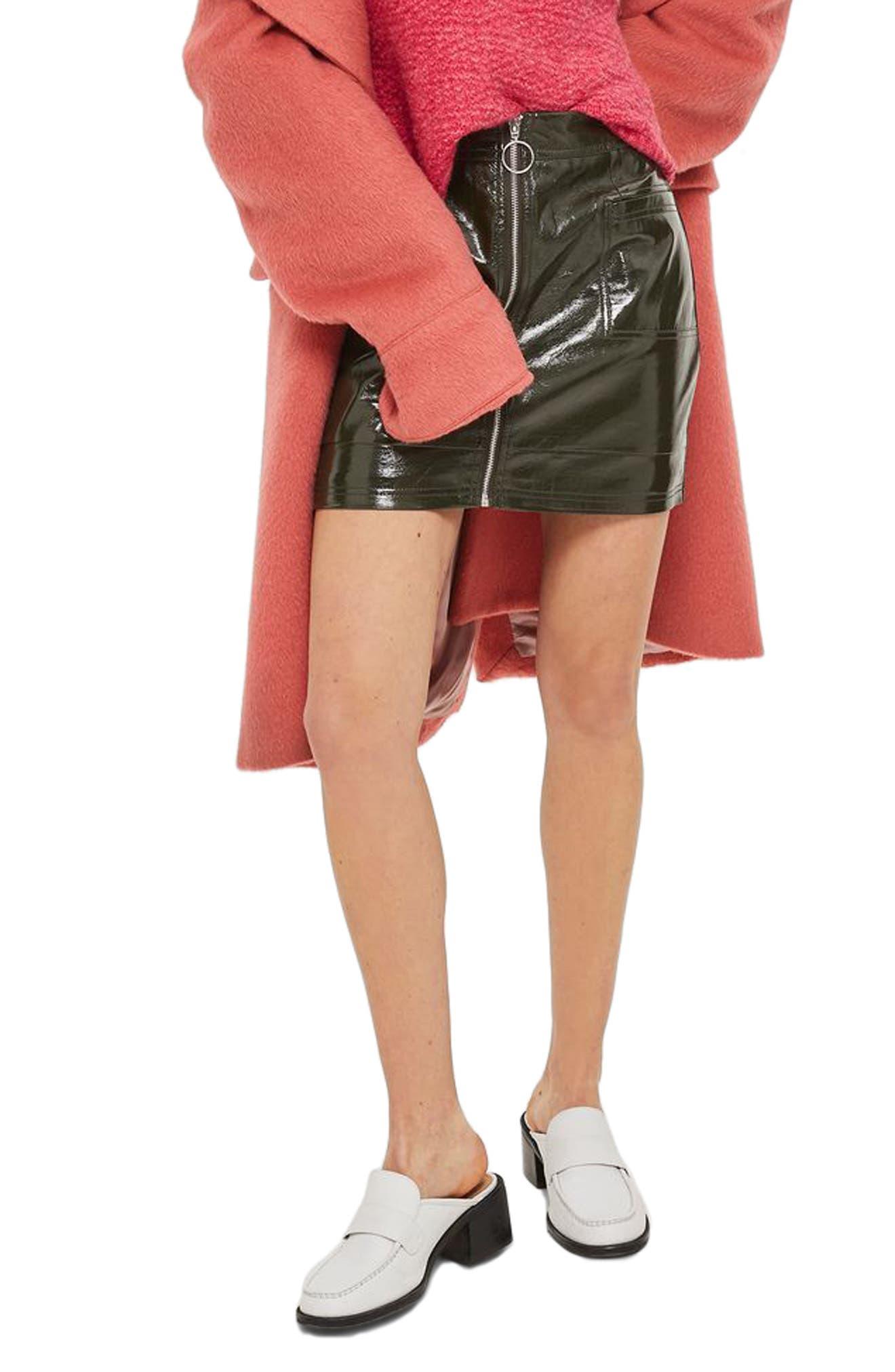 Main Image - Topshop Zip Through Cracked Vinyl Miniskirt