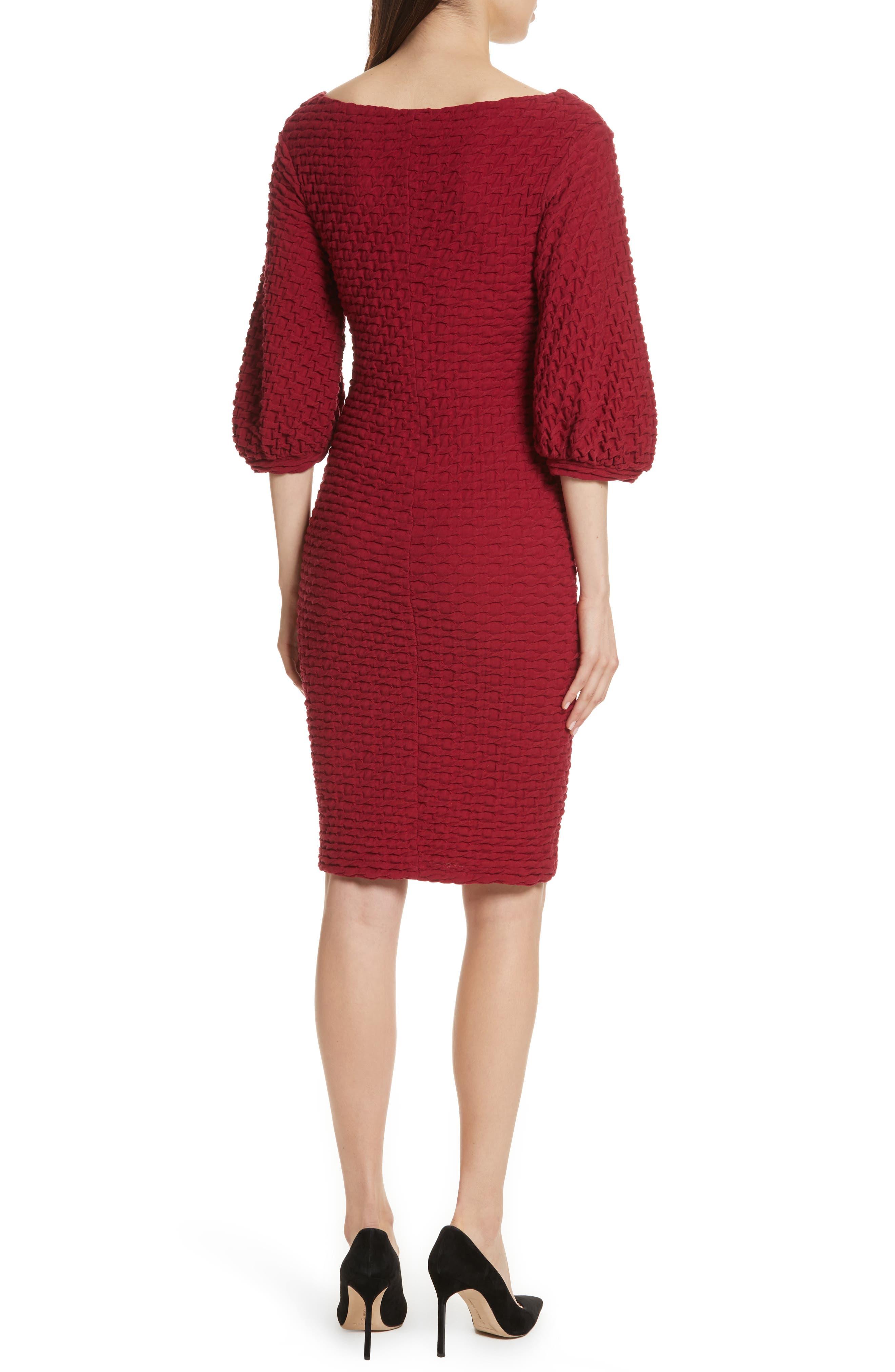Basket Weave Balloon Sleeve Dress,                             Alternate thumbnail 2, color,                             Tibetan Red
