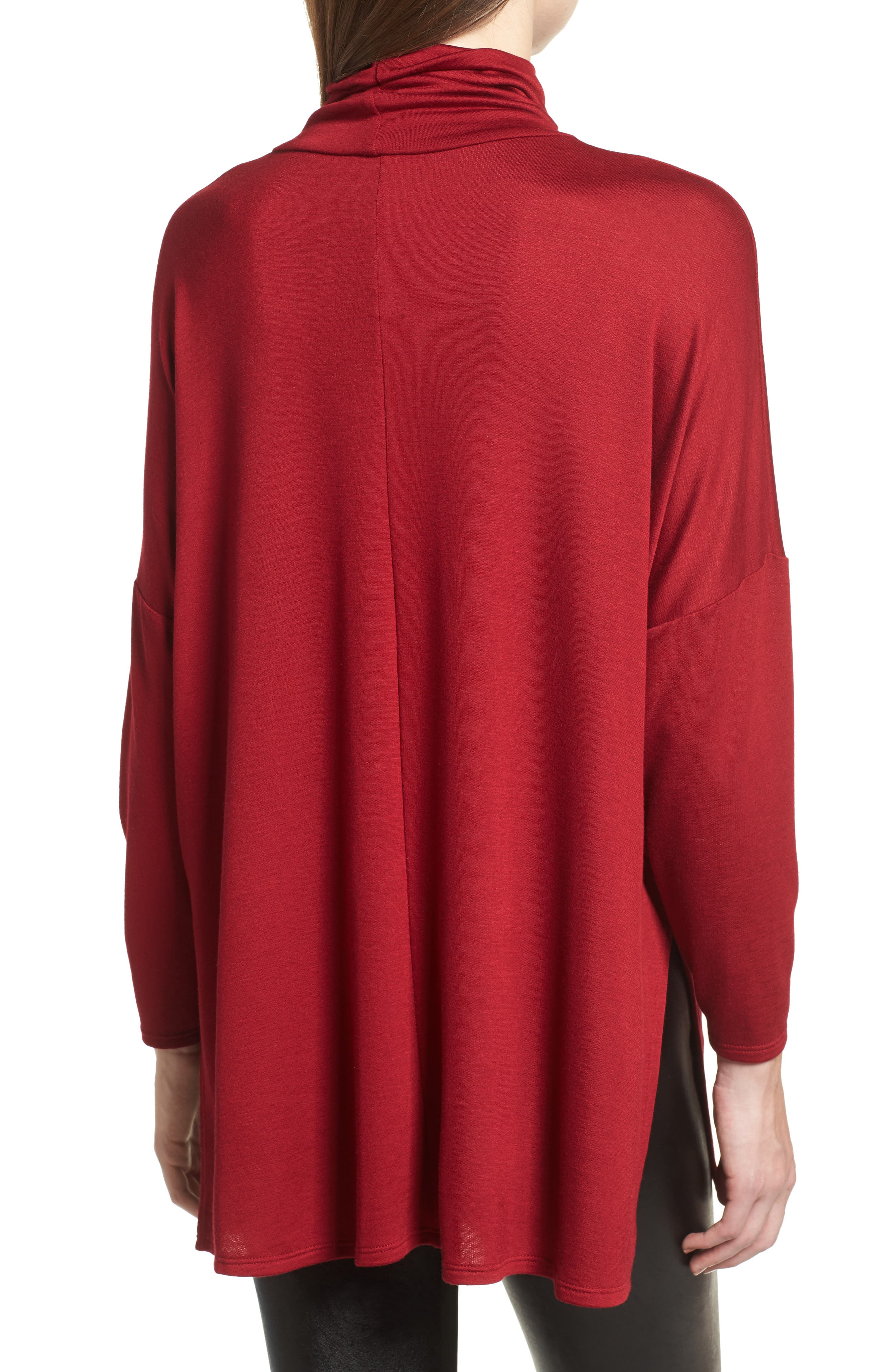 Mock Neck Tunic,                             Alternate thumbnail 2, color,                             Wine