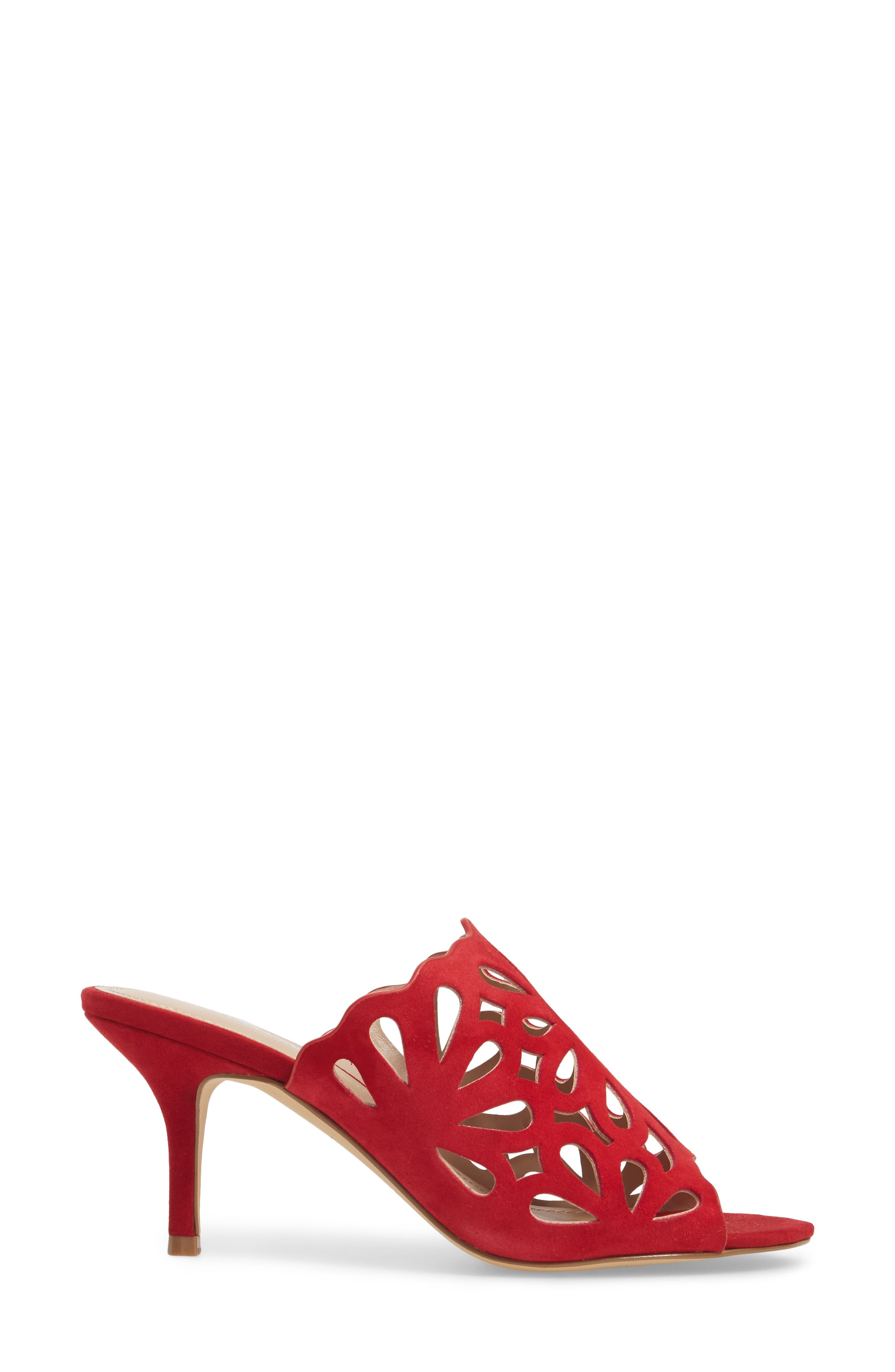 Nicki Perforated Open Toe Mule,                             Alternate thumbnail 3, color,                             Scarlet Suede