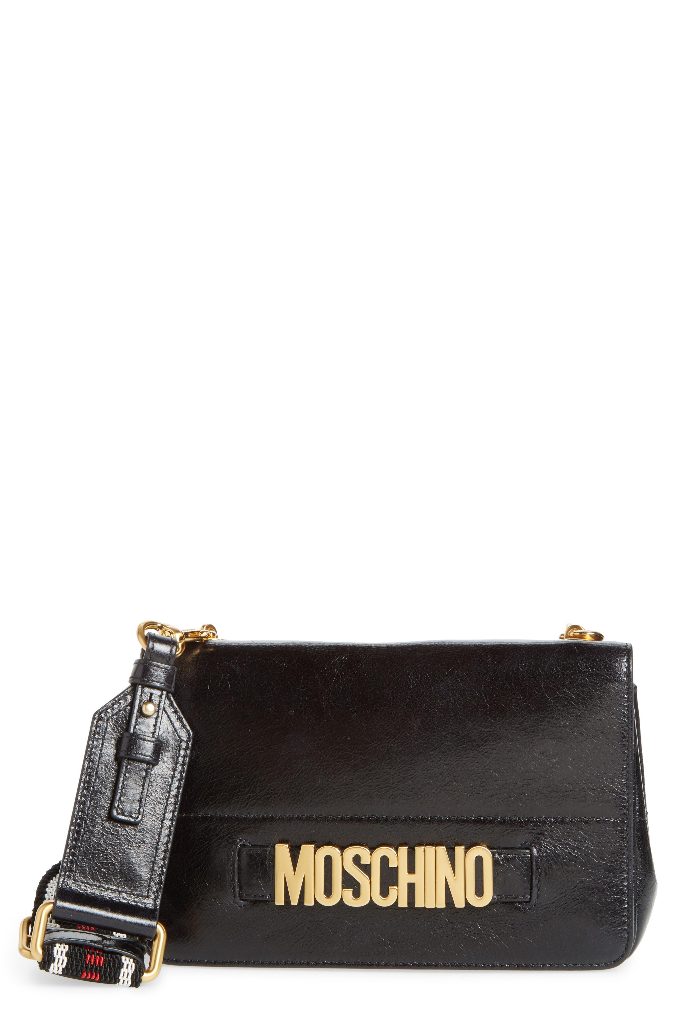 Logo Calfskin Leather Crossbody Bag,                             Main thumbnail 1, color,                             Black