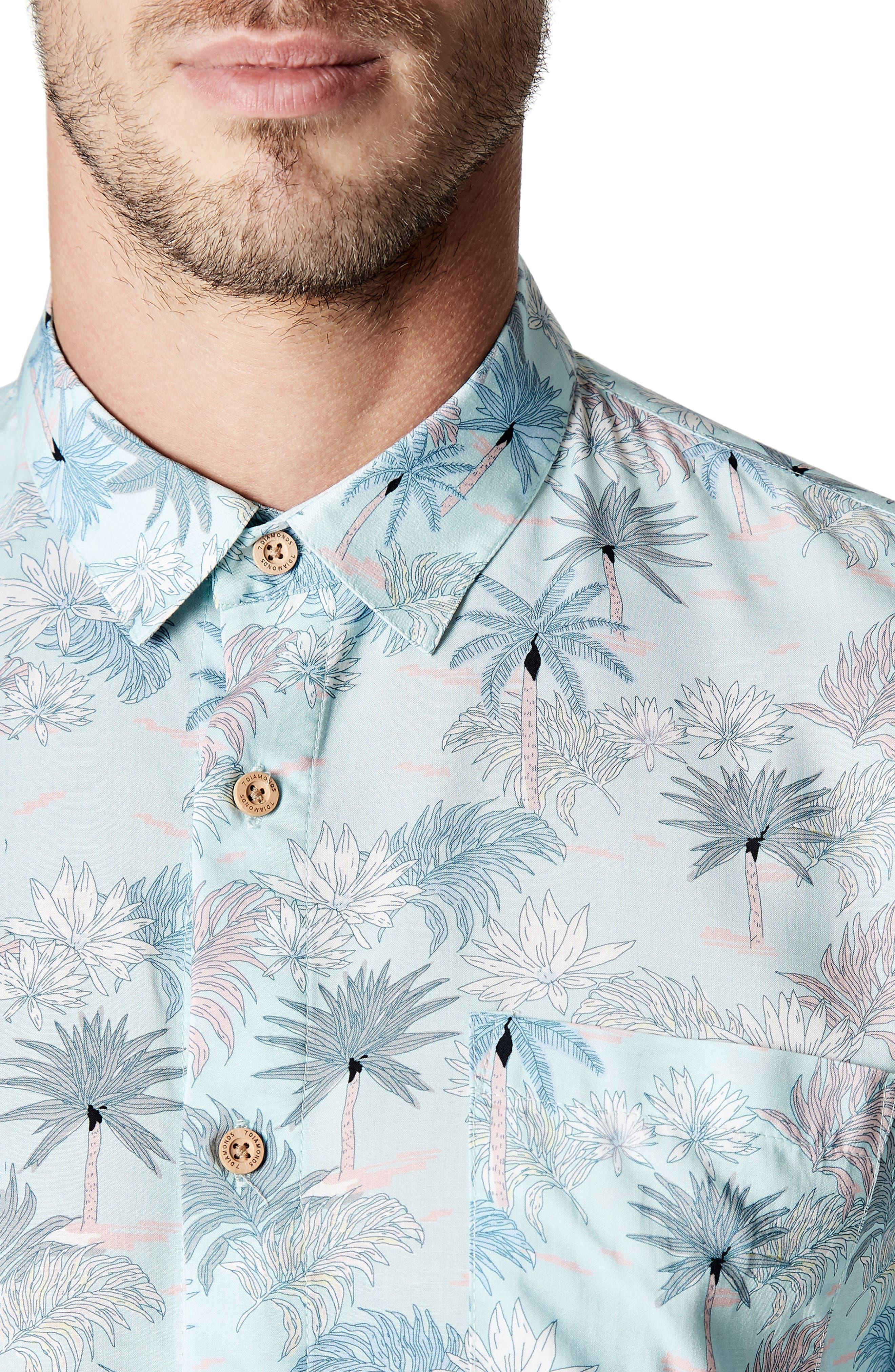 Rebel Music Trim Fit Short Sleeve Sport Shirt,                             Alternate thumbnail 4, color,                             Mint