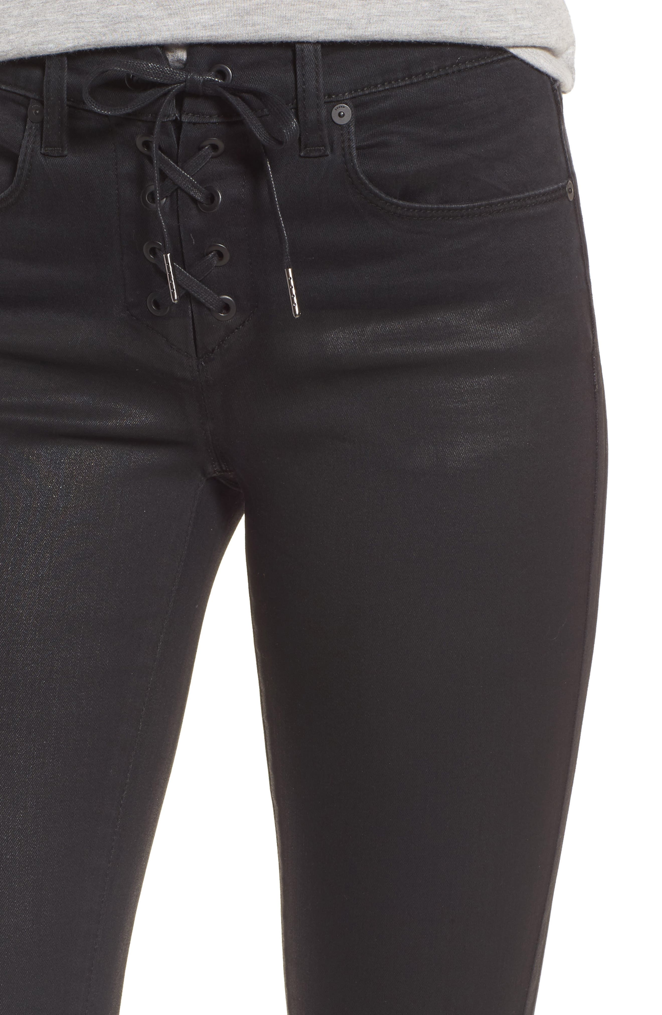 Alternate Image 4  - BLANKNYC Black Jack Lace-Up Skinny Jeans (Smoked Out)