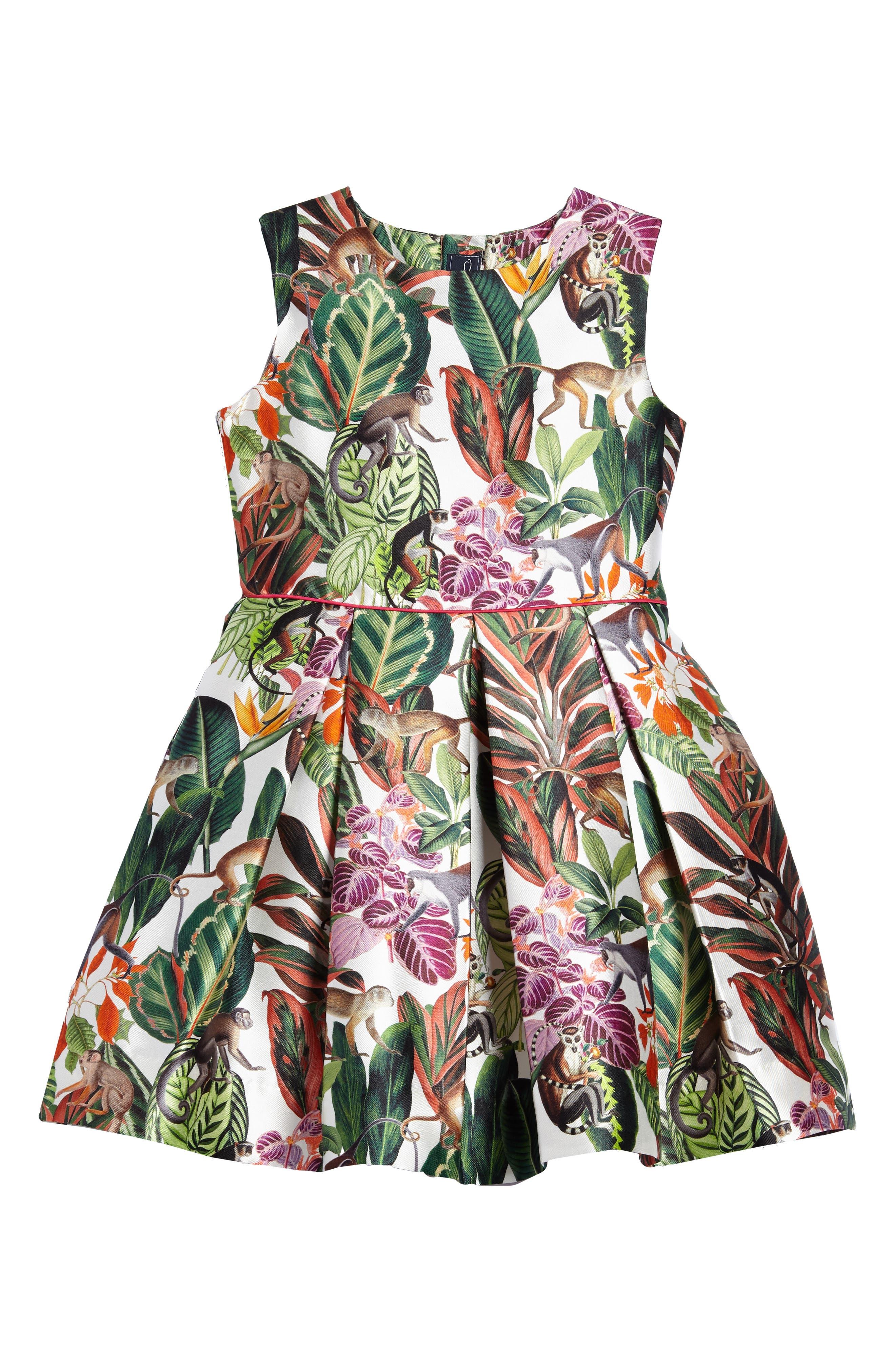 Jungle Monkey Mikado Party Dress,                             Main thumbnail 1, color,                             Jungle Green