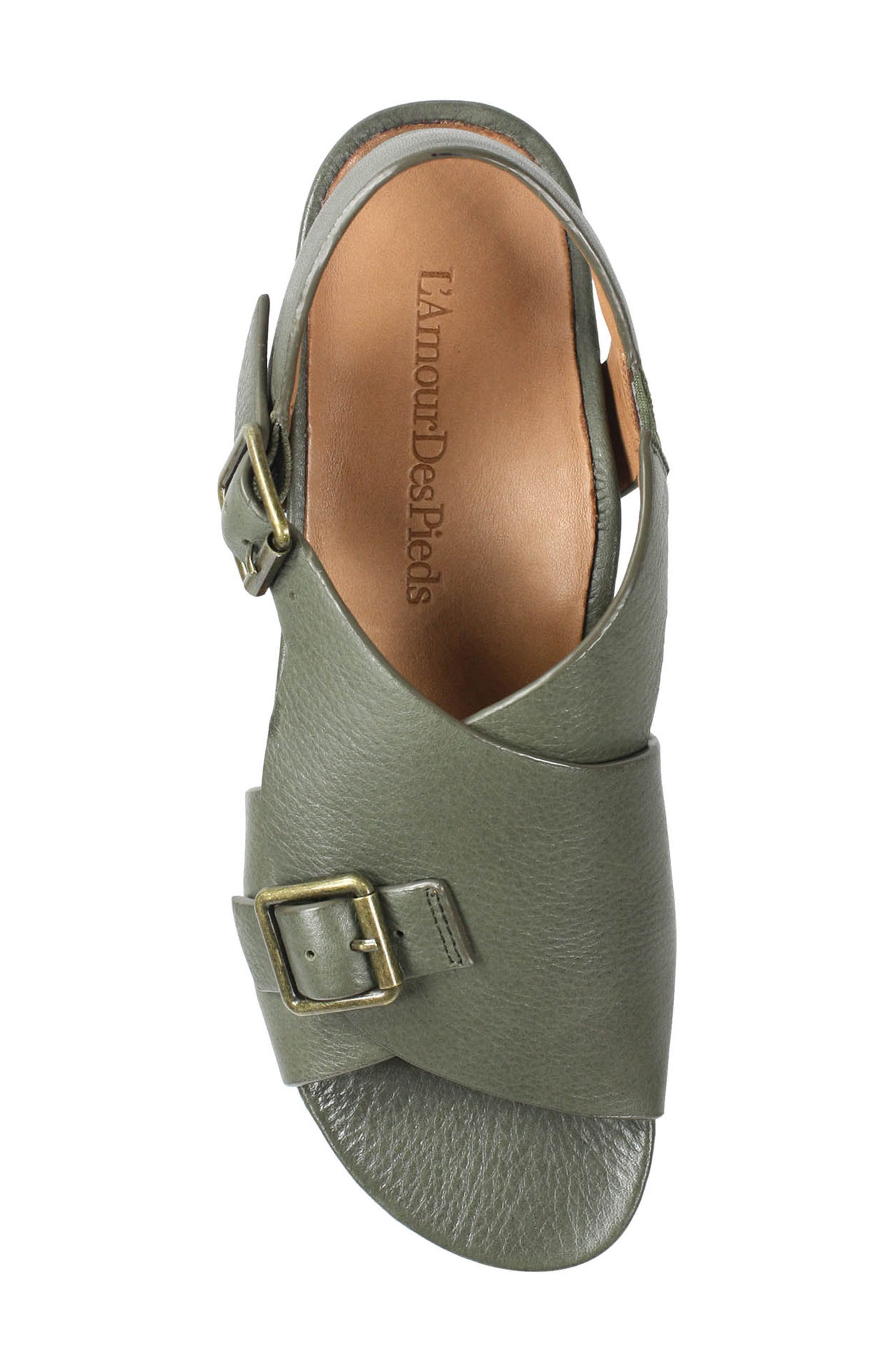 Dordogne Sandal,                             Alternate thumbnail 5, color,                             Olive Leather