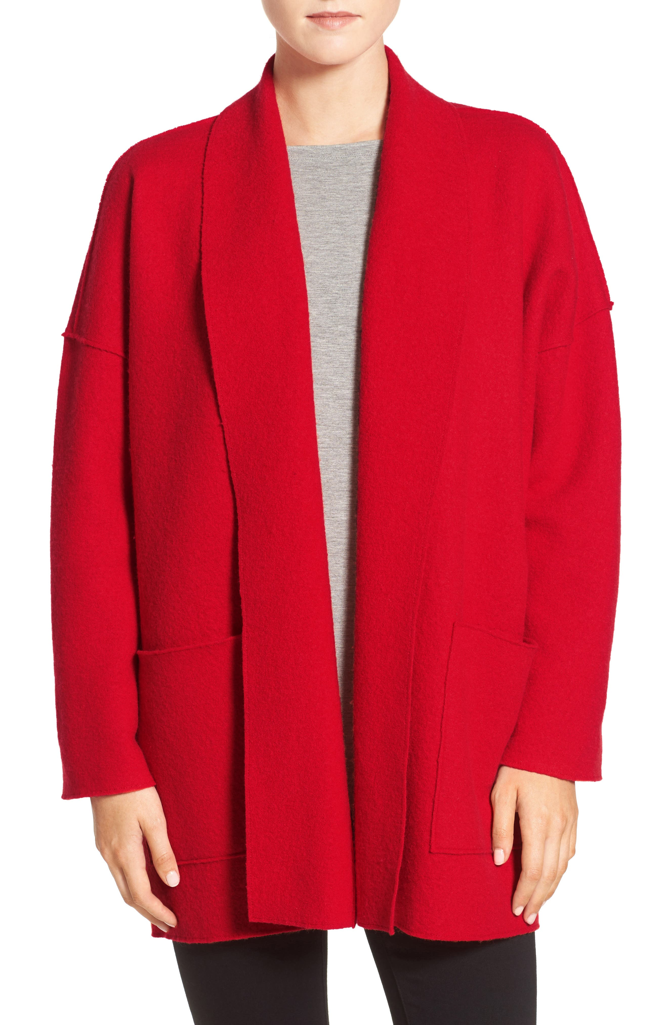 Boiled Wool Shawl Collar Jacket,                             Alternate thumbnail 4, color,                             Lacquer