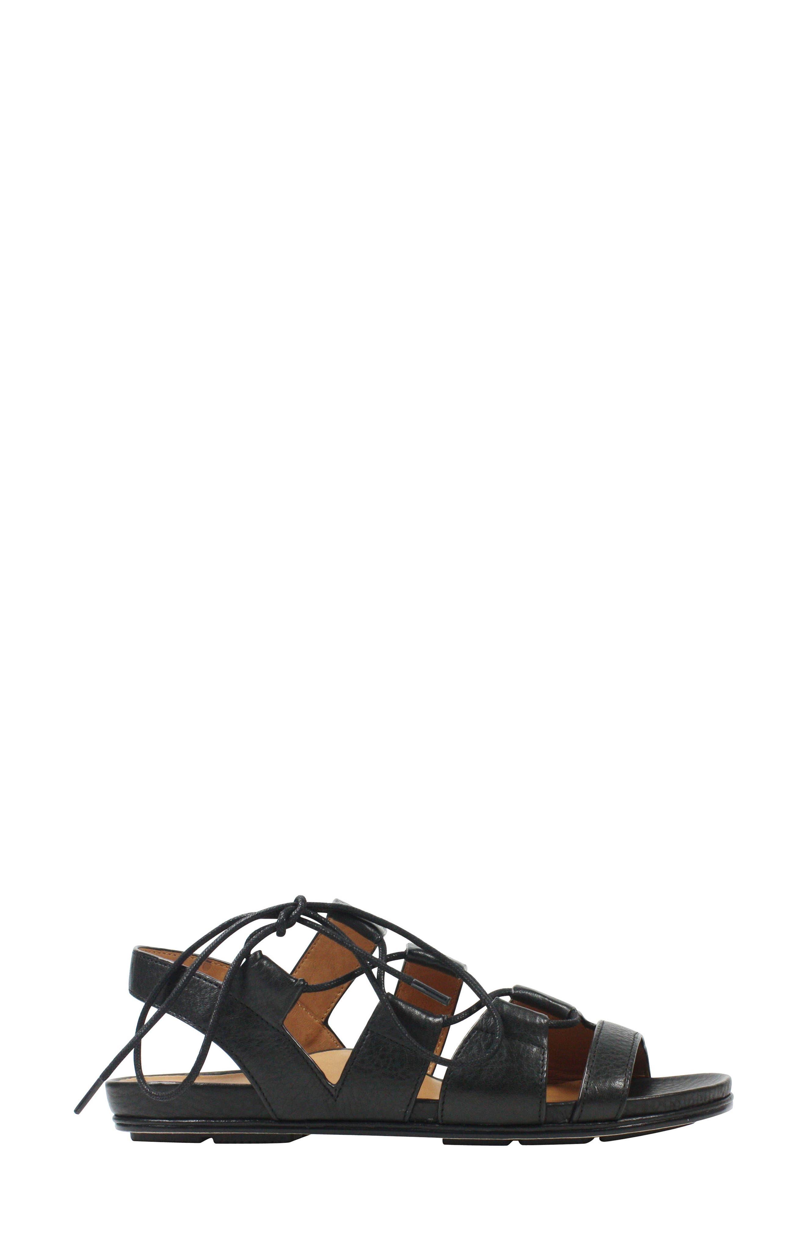 Digbee Sandal,                             Alternate thumbnail 3, color,                             Black Leather