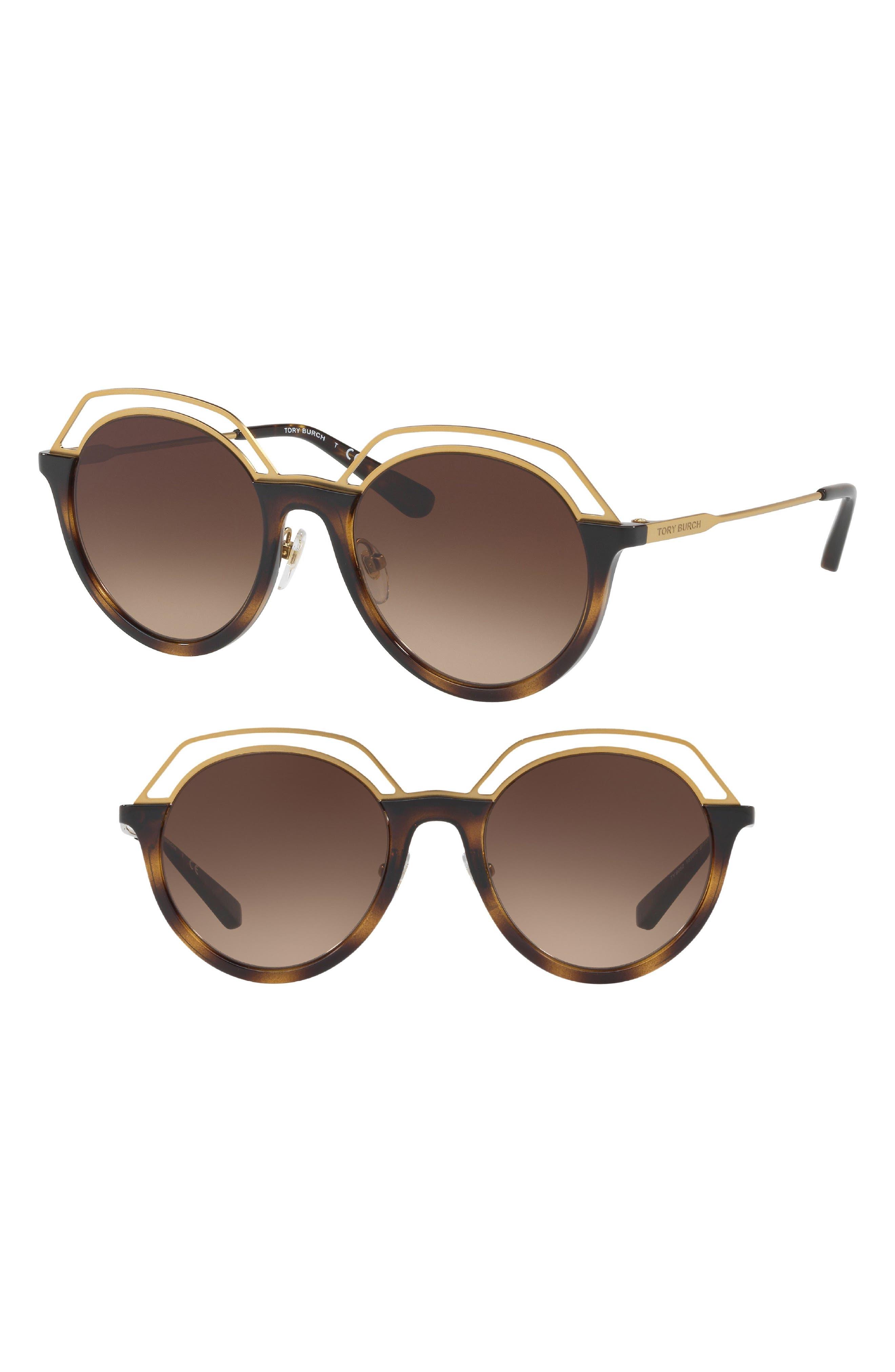 51mm Round Gradient Sunglasses,                         Main,                         color, Dark Tortoise