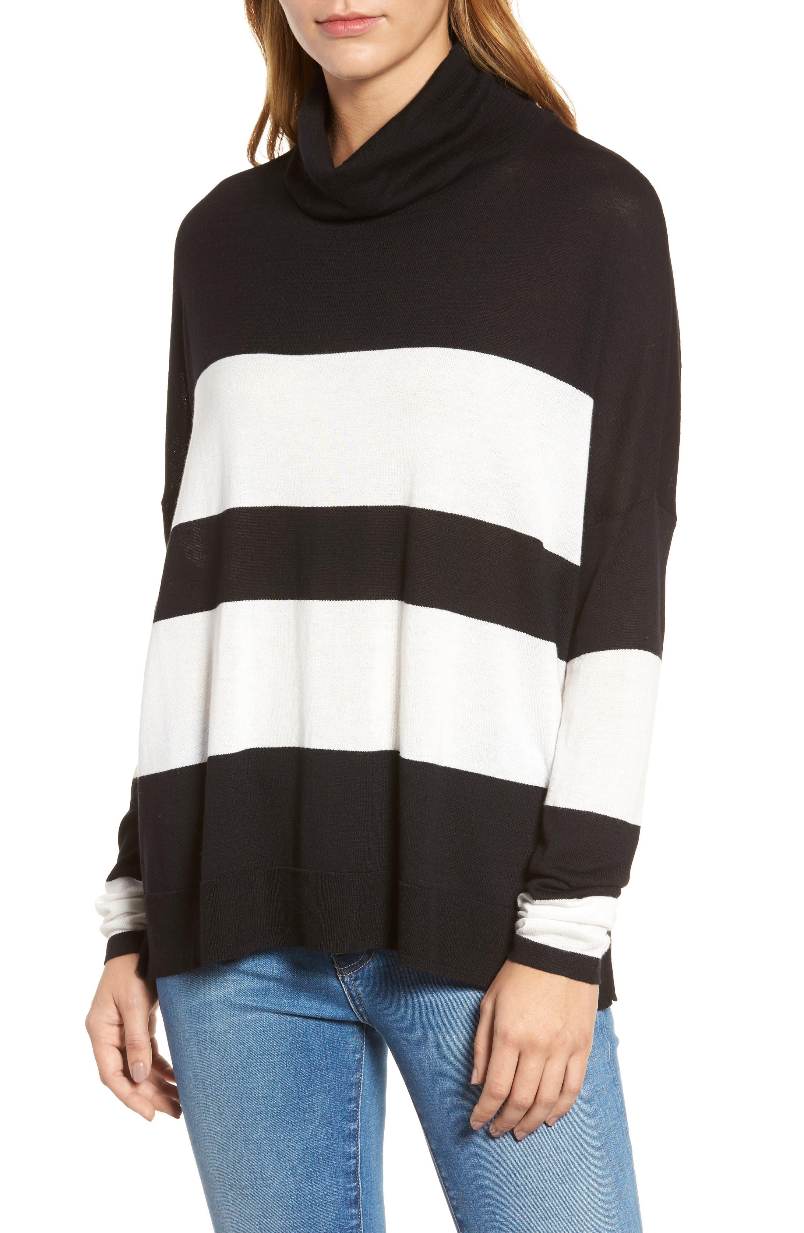 Wide Stripe Turtleneck Sweater,                         Main,                         color, Black Cream