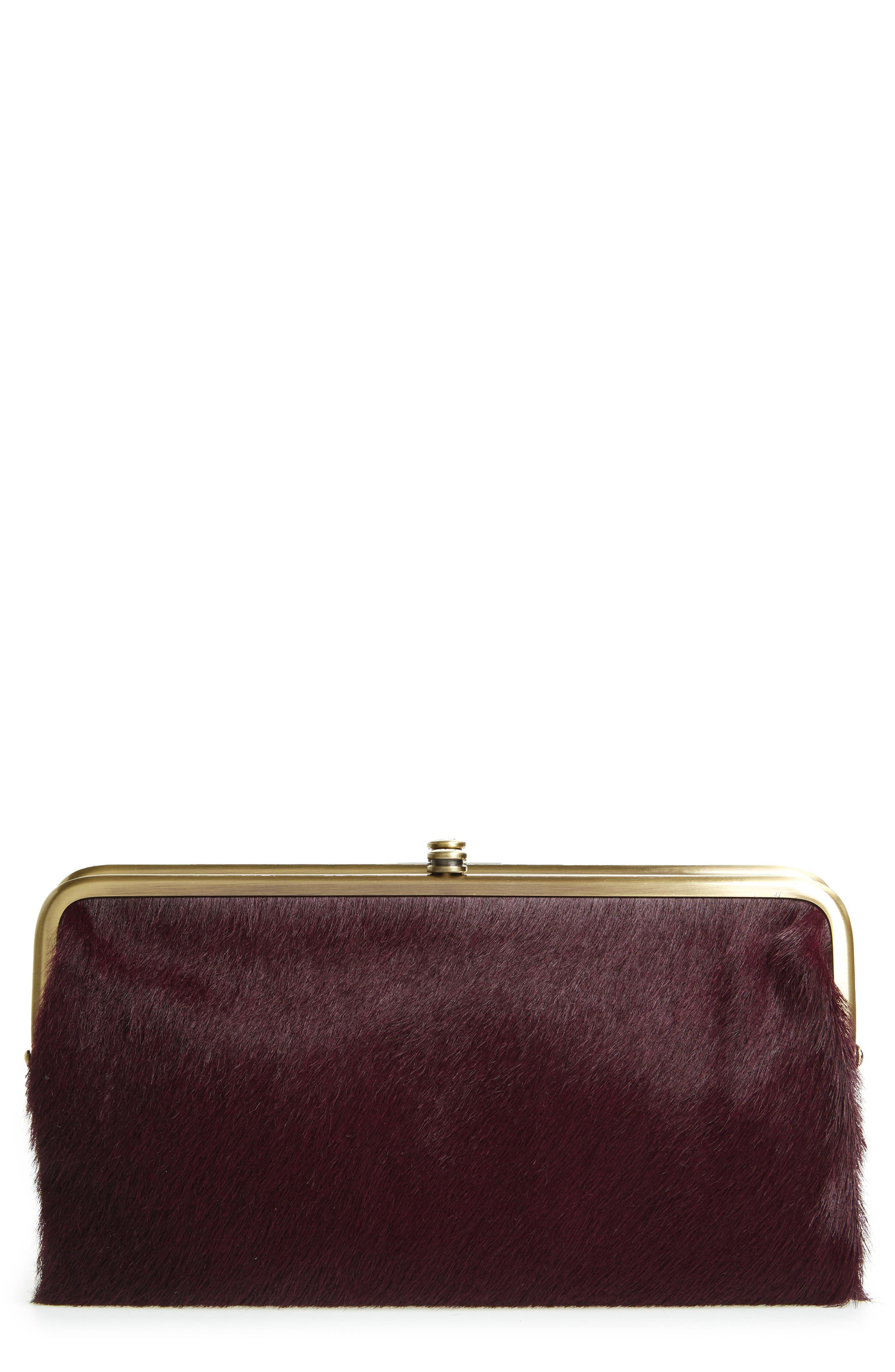 Lauren Colorblock Genuine Calf Hair & Calfskin Leather Wallet,                         Main,                         color, Eggplant