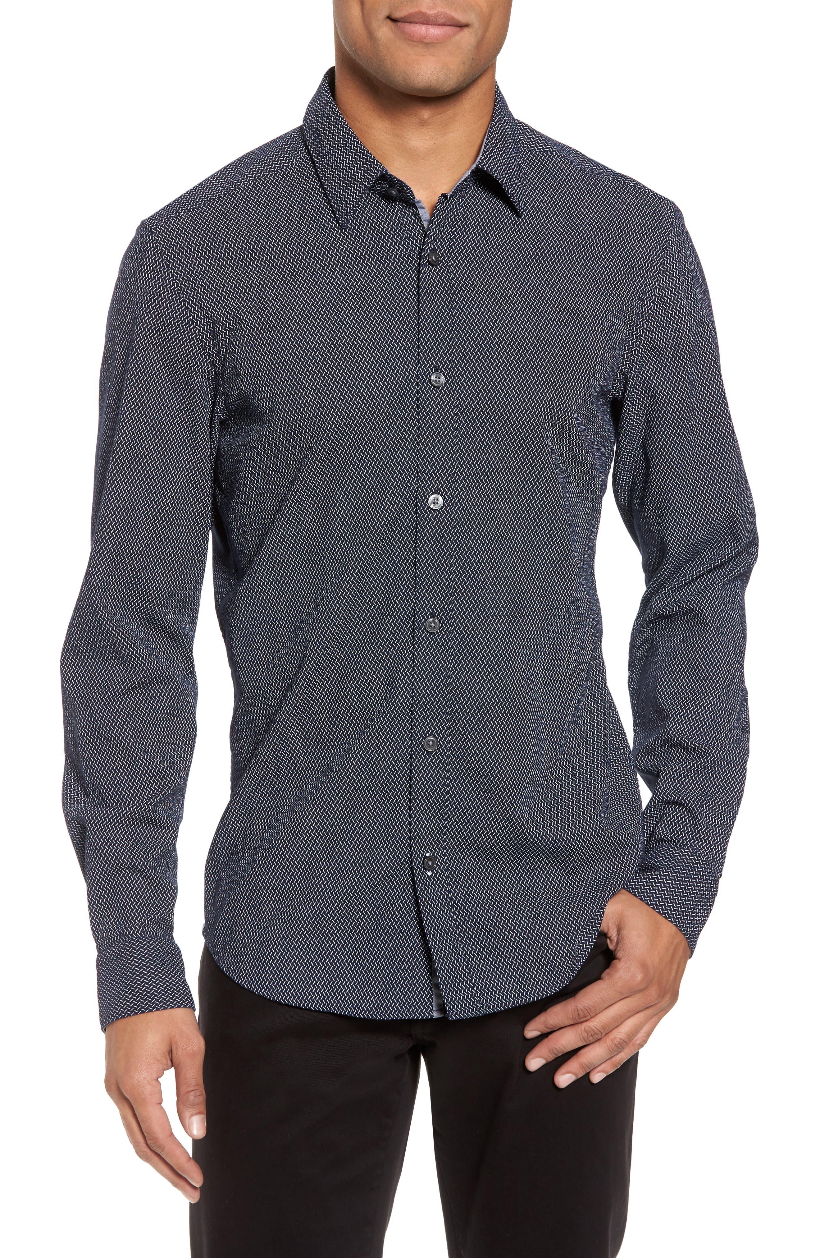 Lance Regular Fit Print Sport Shirt,                         Main,                         color, Navy