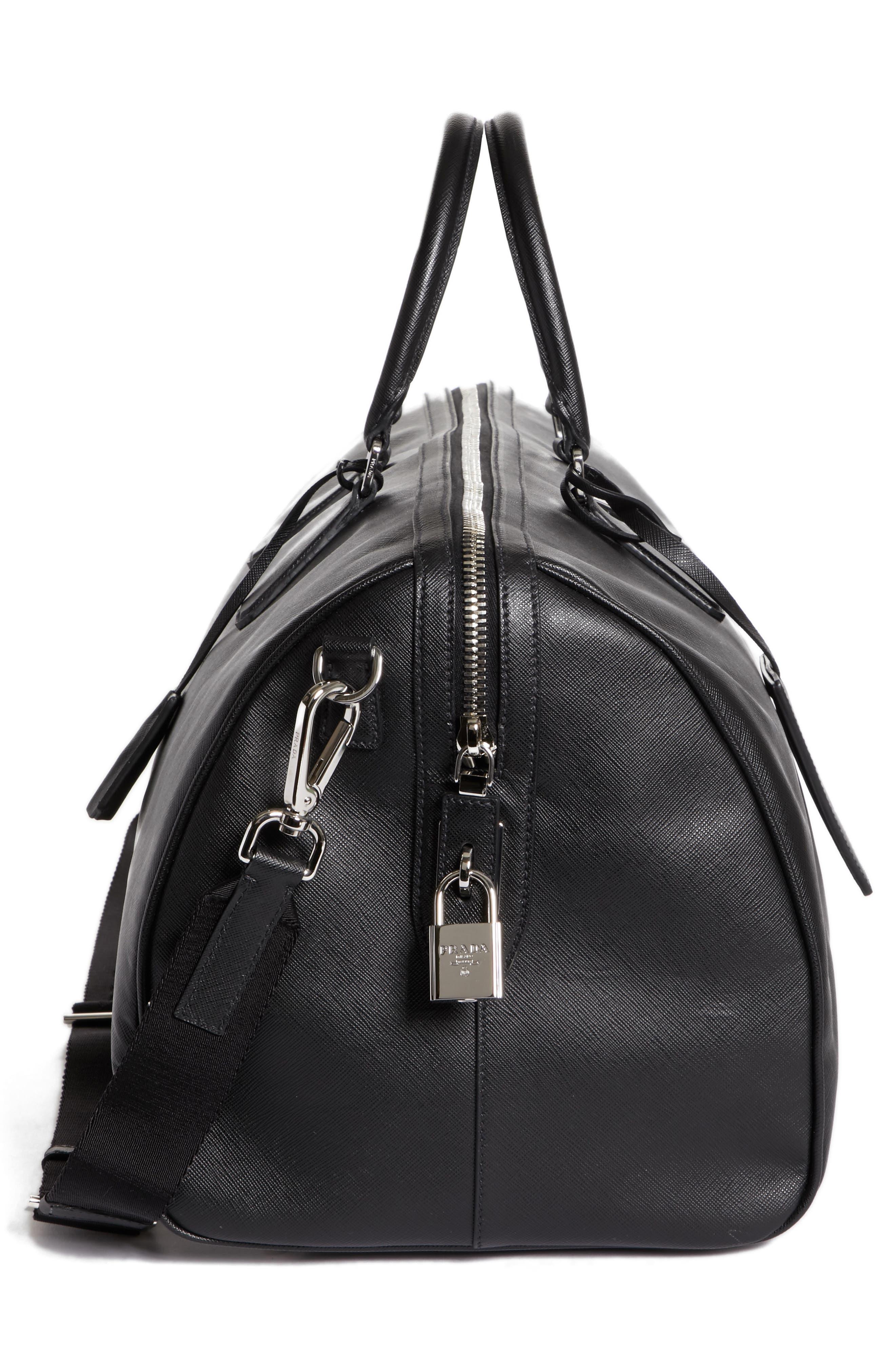 Saffiano Leather Duffel Bag,                             Alternate thumbnail 5, color,                             F0002 Nero