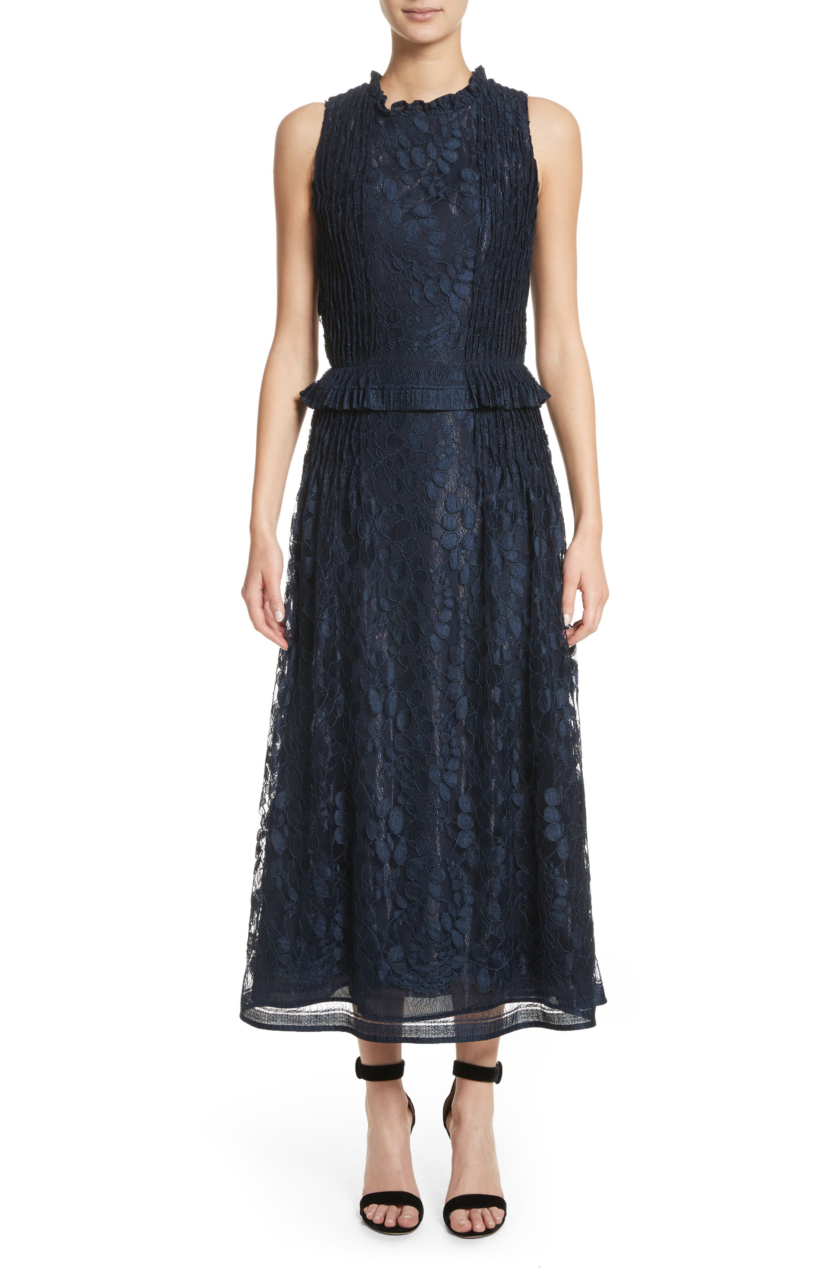 Abstract Leaf Lace midi Dress,                             Main thumbnail 1, color,                             Navy