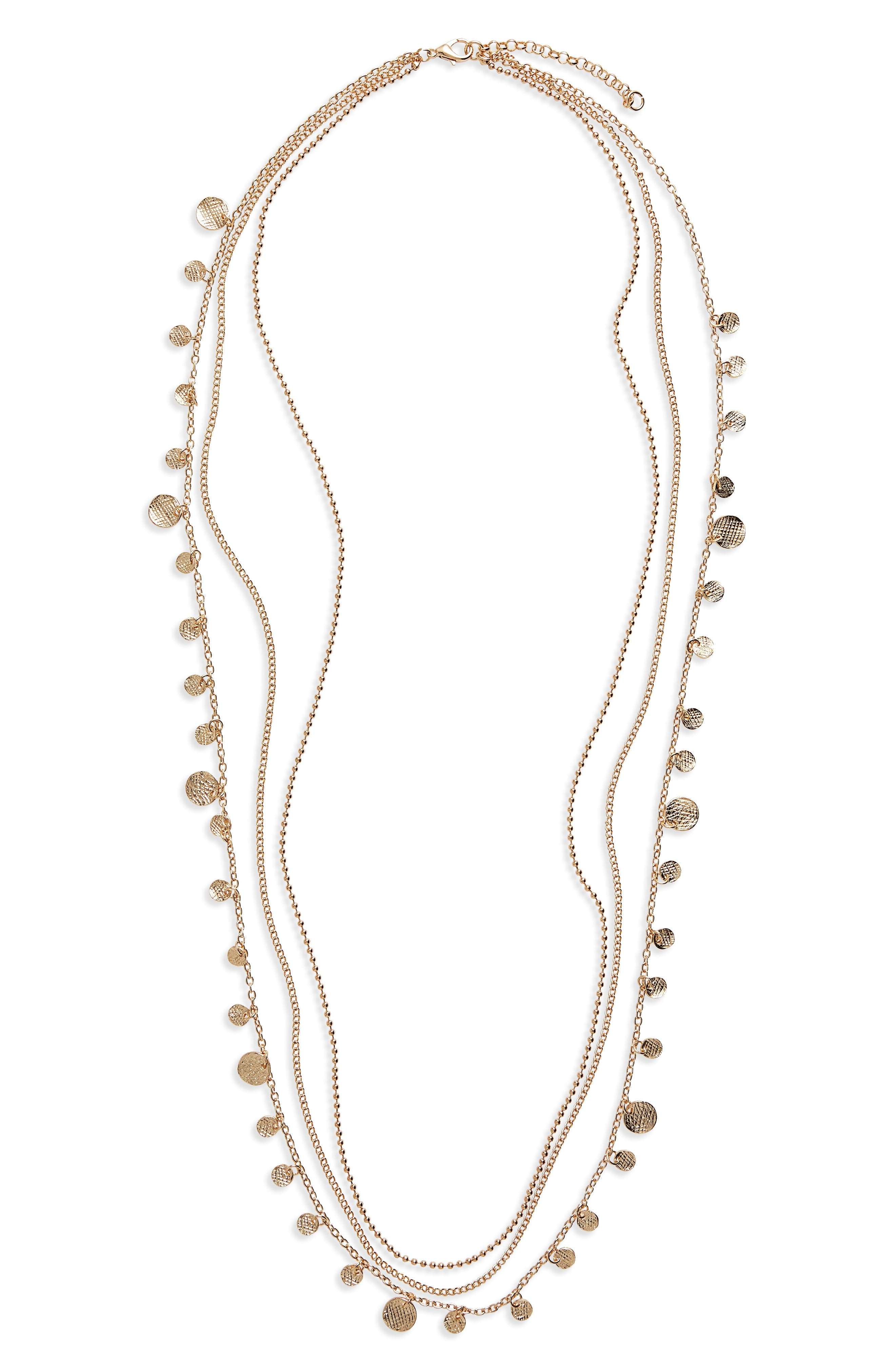 Multistrand Disc Charm Necklace,                             Main thumbnail 1, color,                             Gold