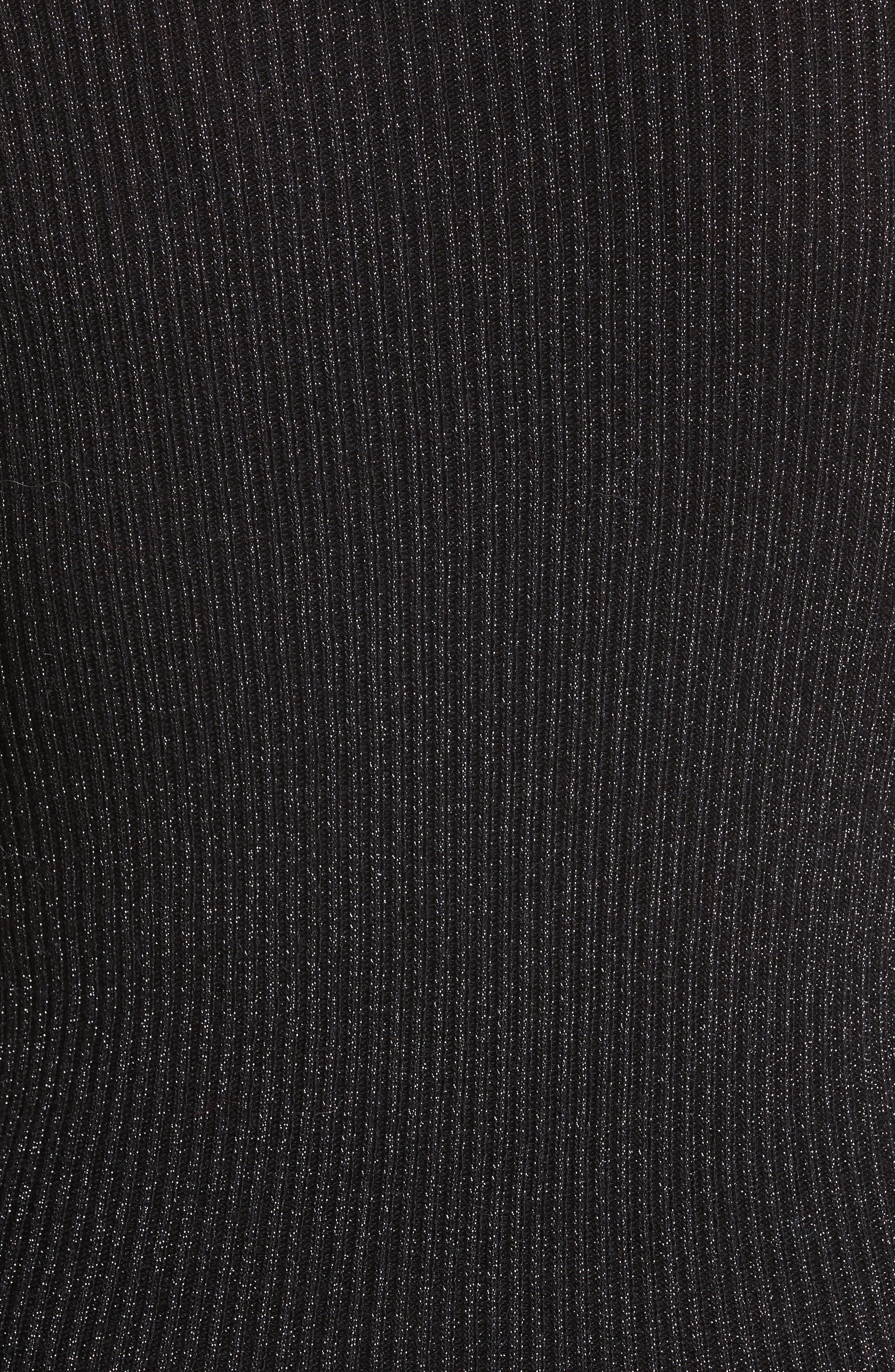 Metallic Ribbed Pullover,                             Alternate thumbnail 5, color,                             Black Combo