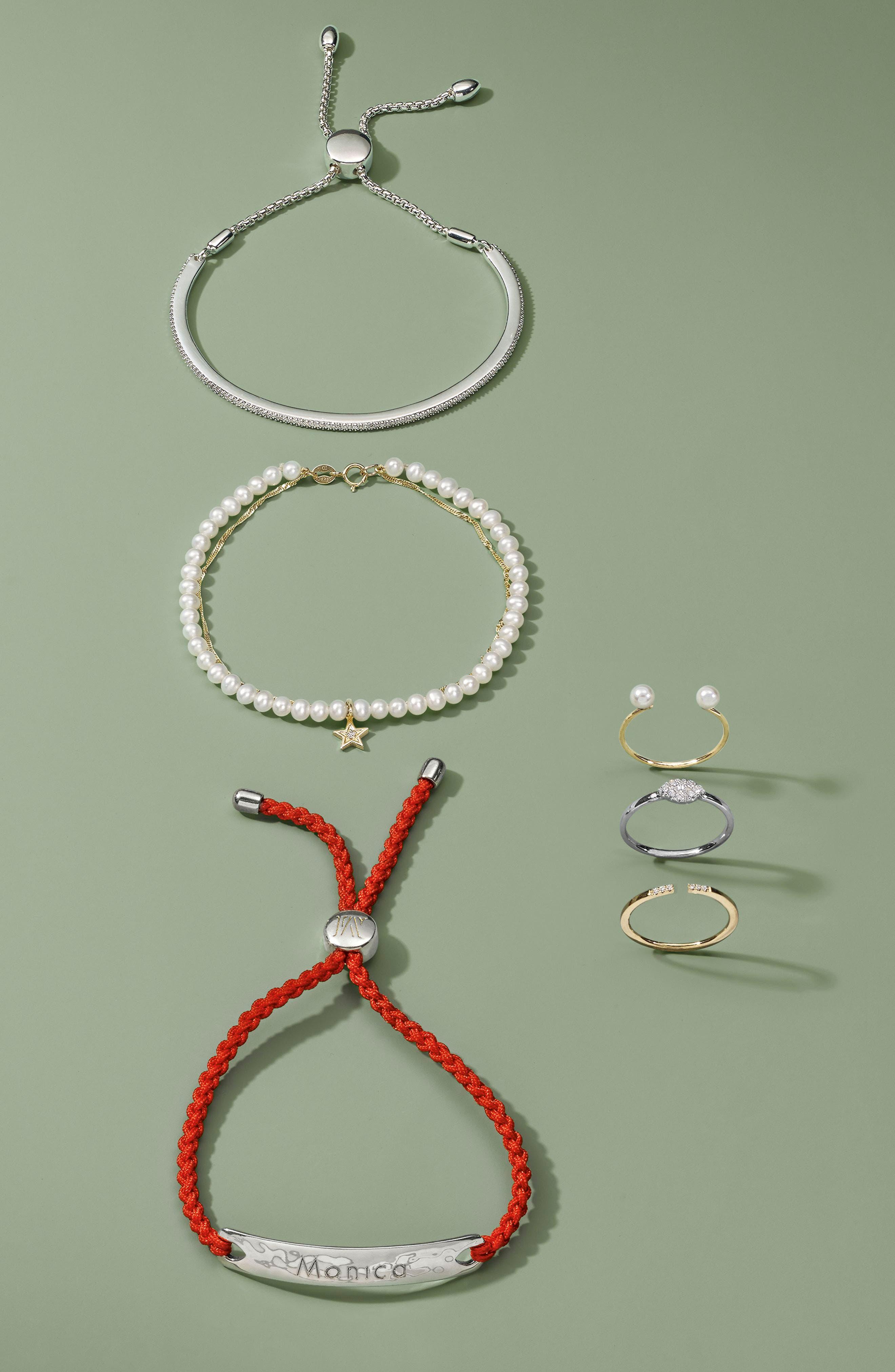 Pavé Diamond & Pearl Chain Bracelet,                             Alternate thumbnail 2, color,                             Yellow Gold