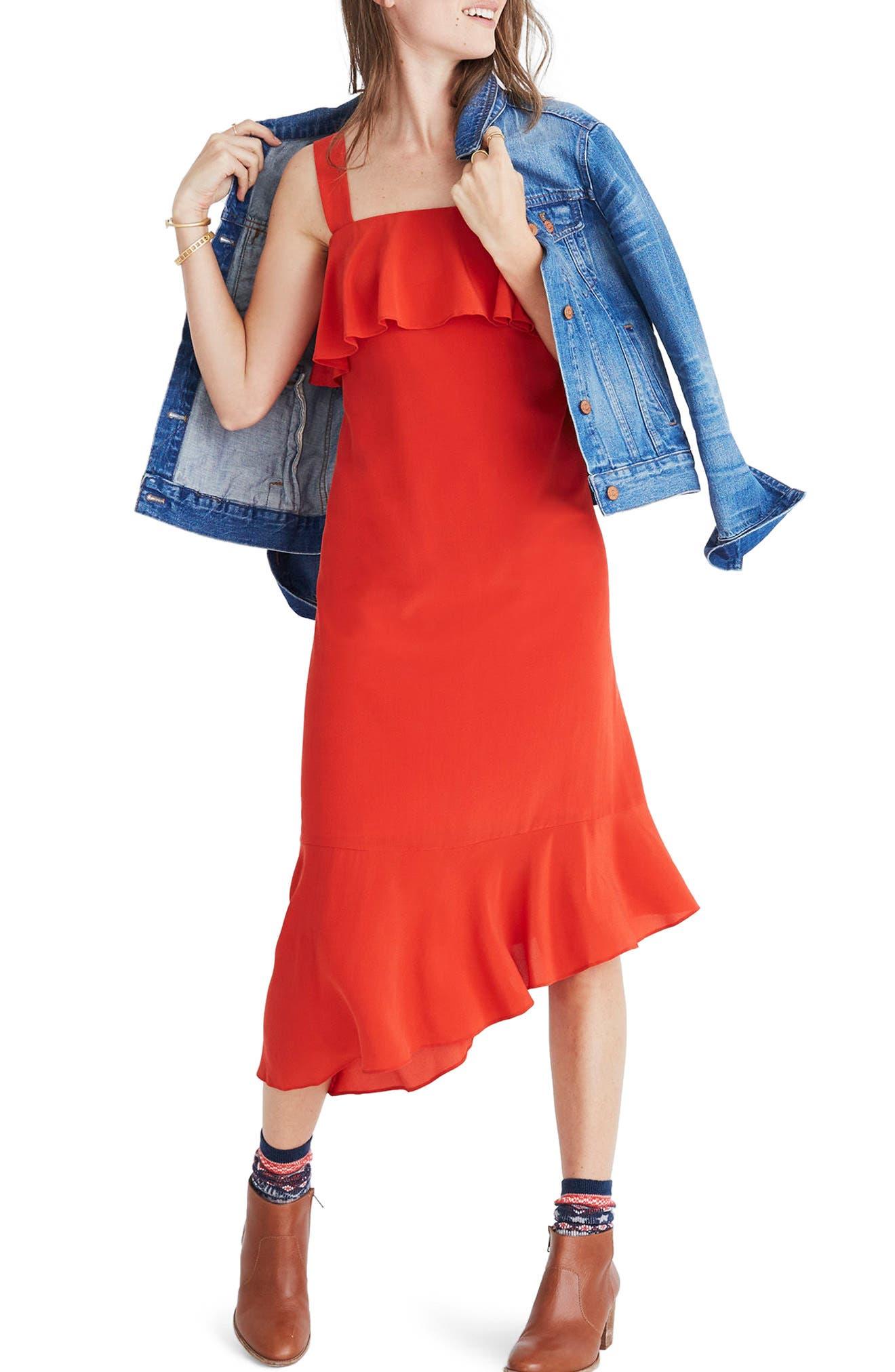 Madewell Ruffle Silk Midi Dress