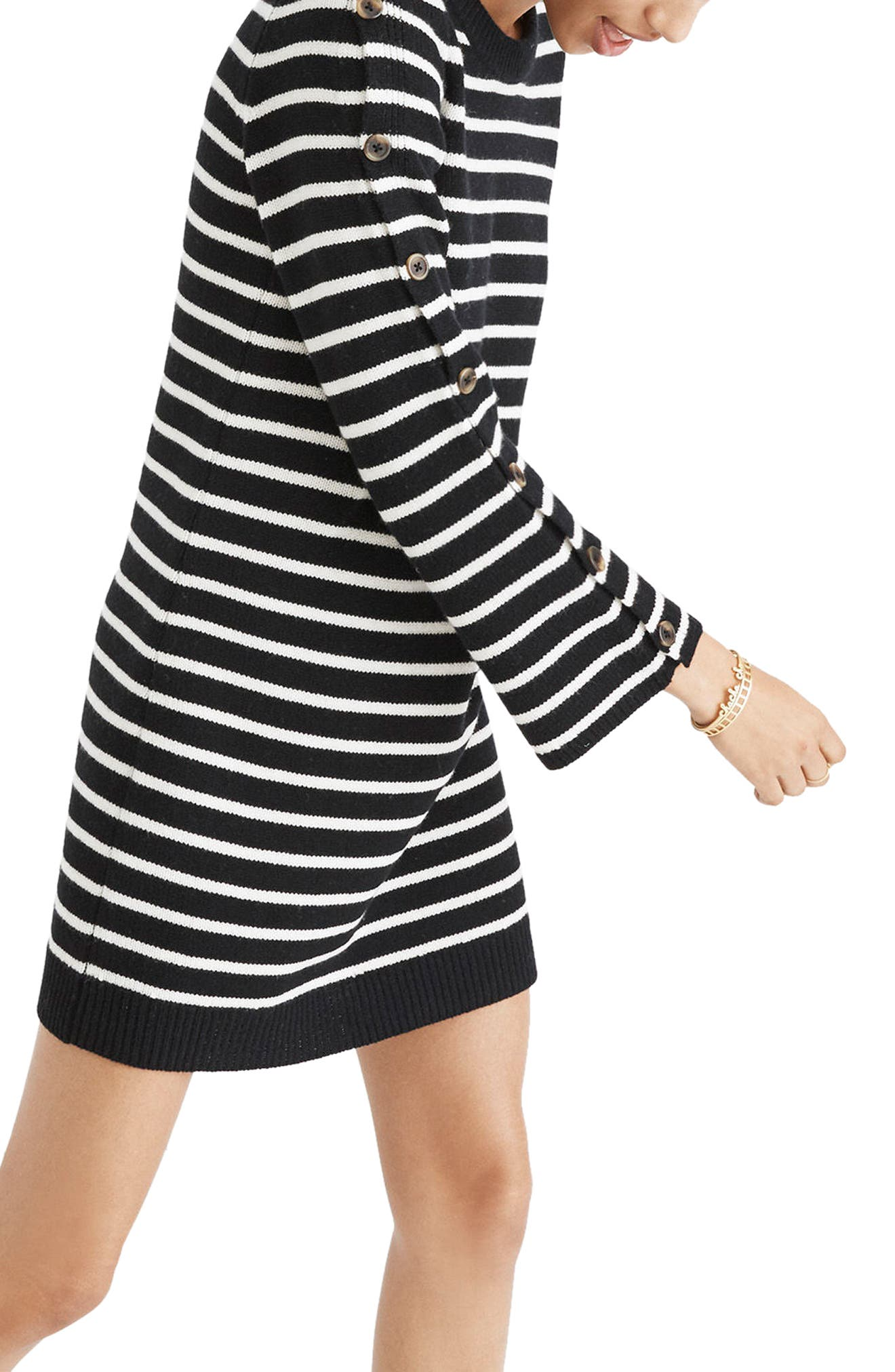 Stripe Sweater Dress,                             Alternate thumbnail 3, color,                             True Black