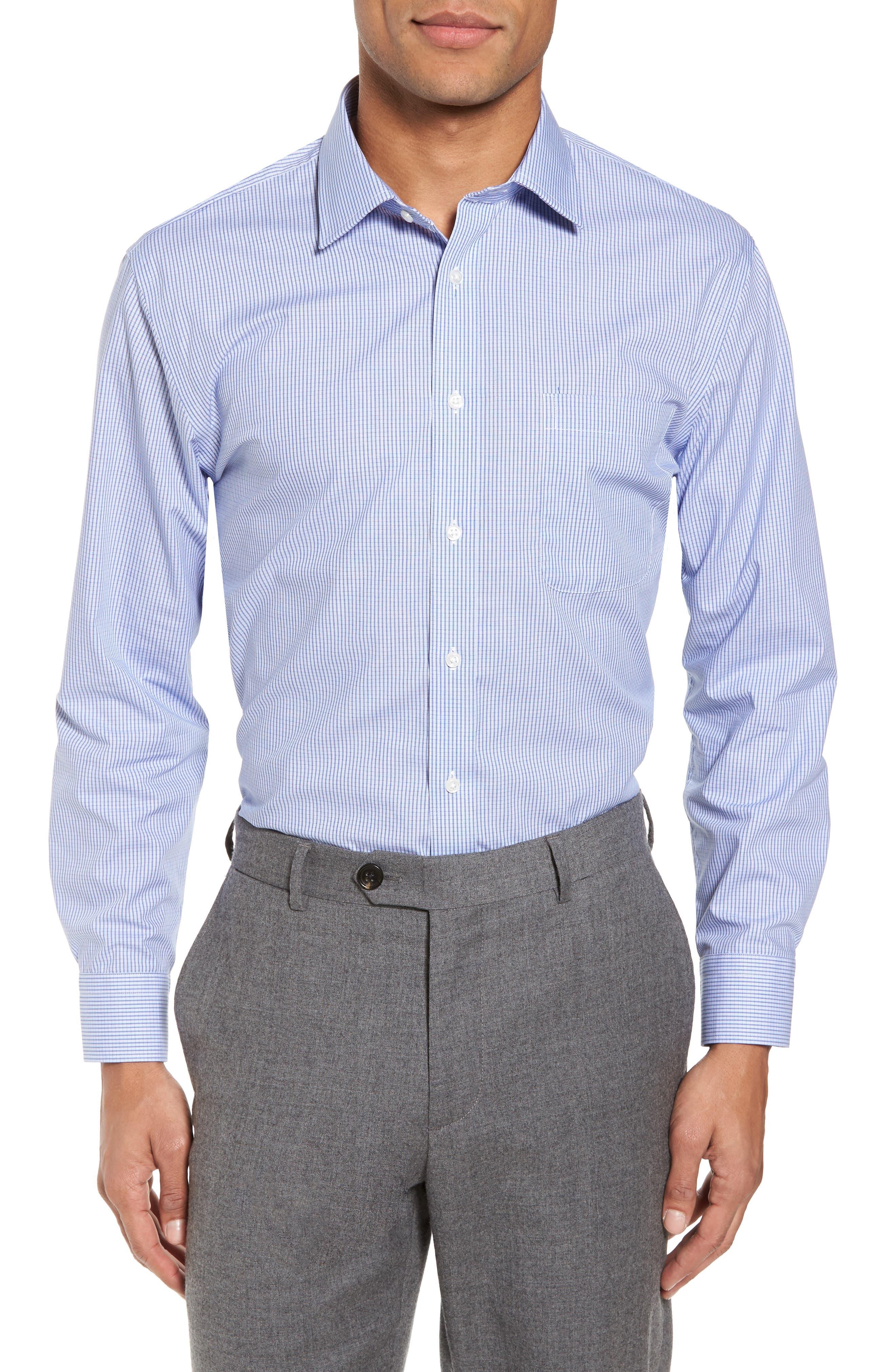 Trim Fit Non-Iron Check Dress Shirt,                         Main,                         color, Navy Peacoat