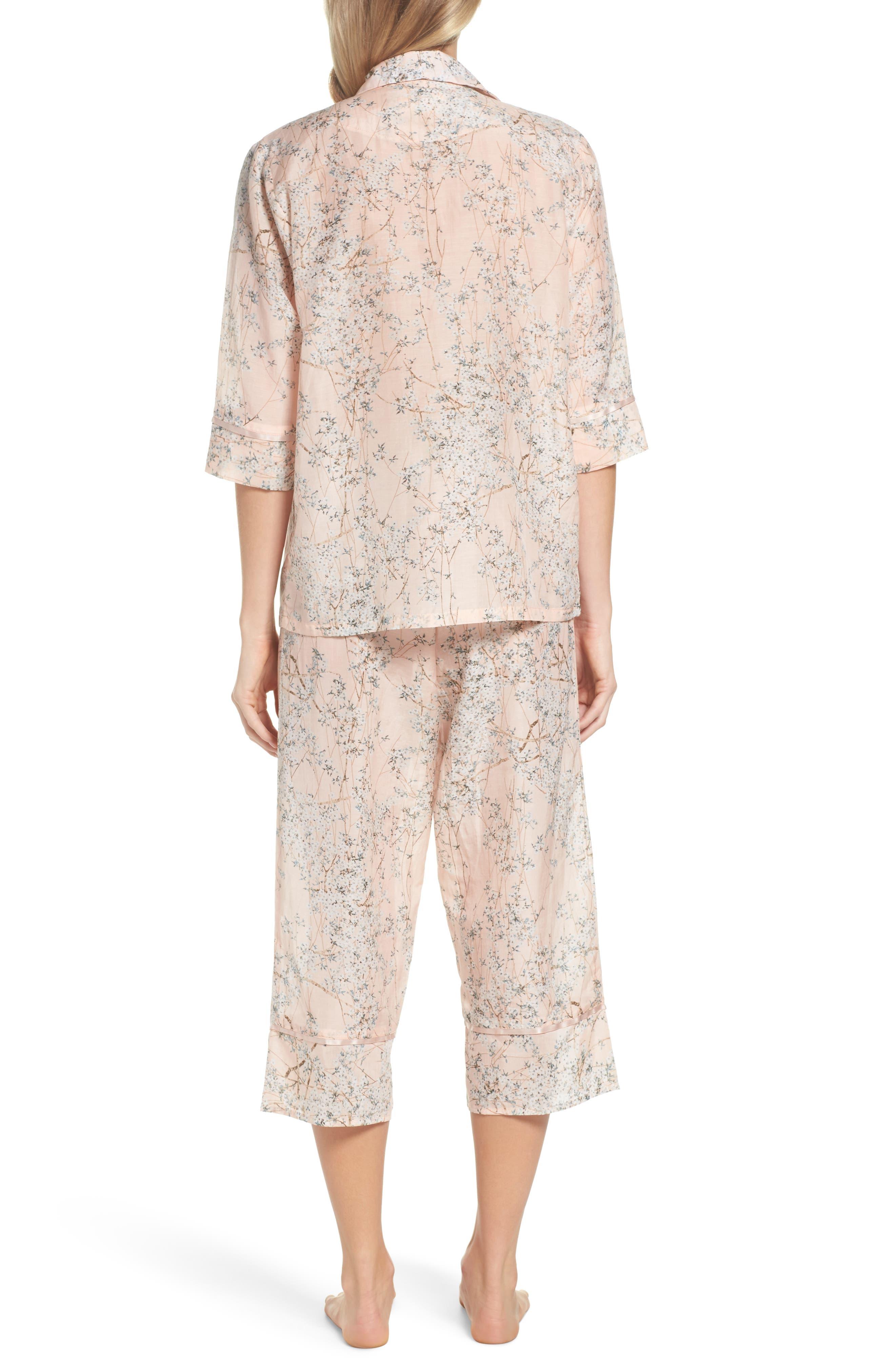 Cherry Blossom Cotton & Silk Crop Pajamas,                             Alternate thumbnail 2, color,                             Pink