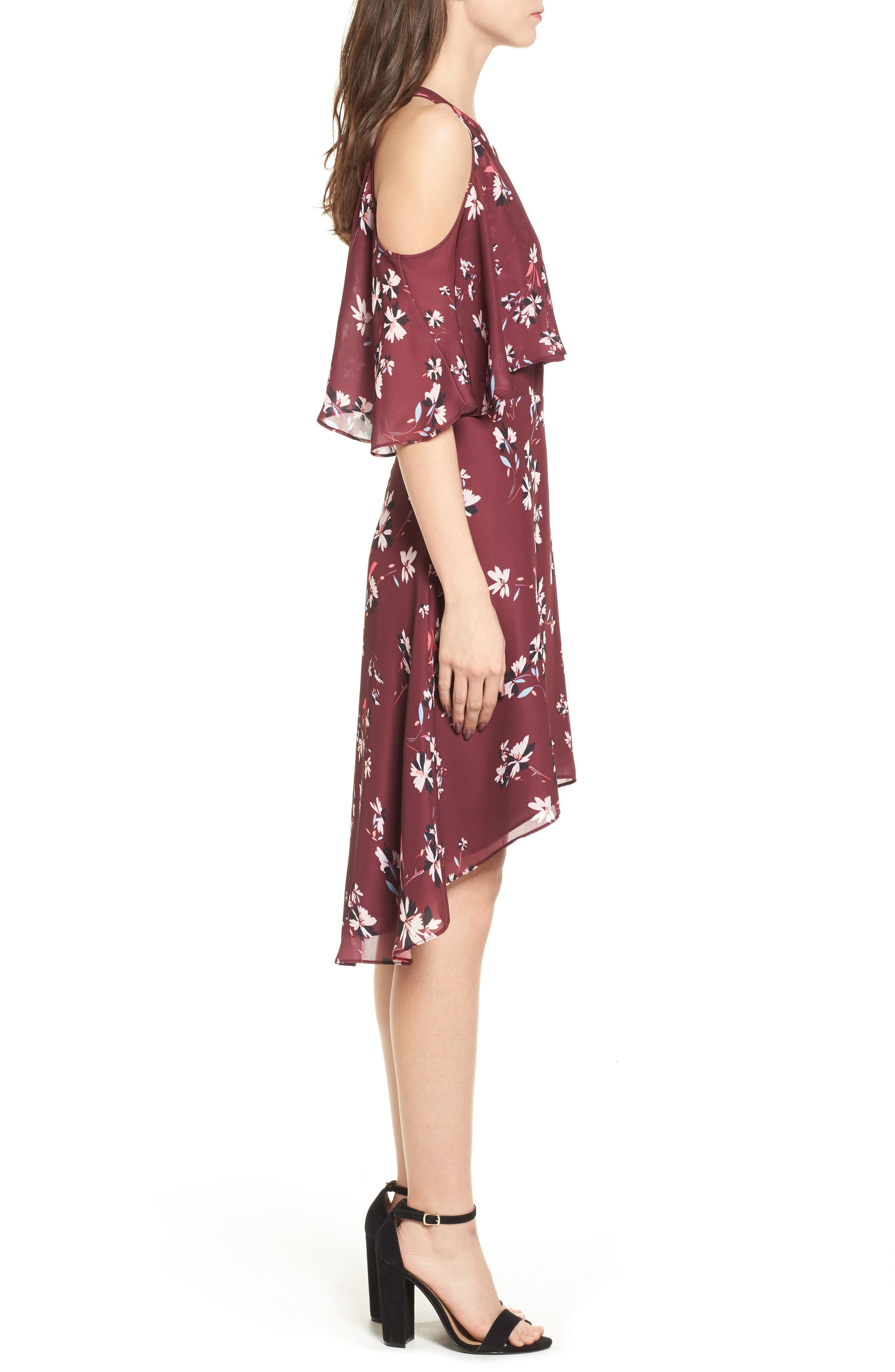 Mia Cold Shoulder Dress,                             Alternate thumbnail 3, color,                             Lotus