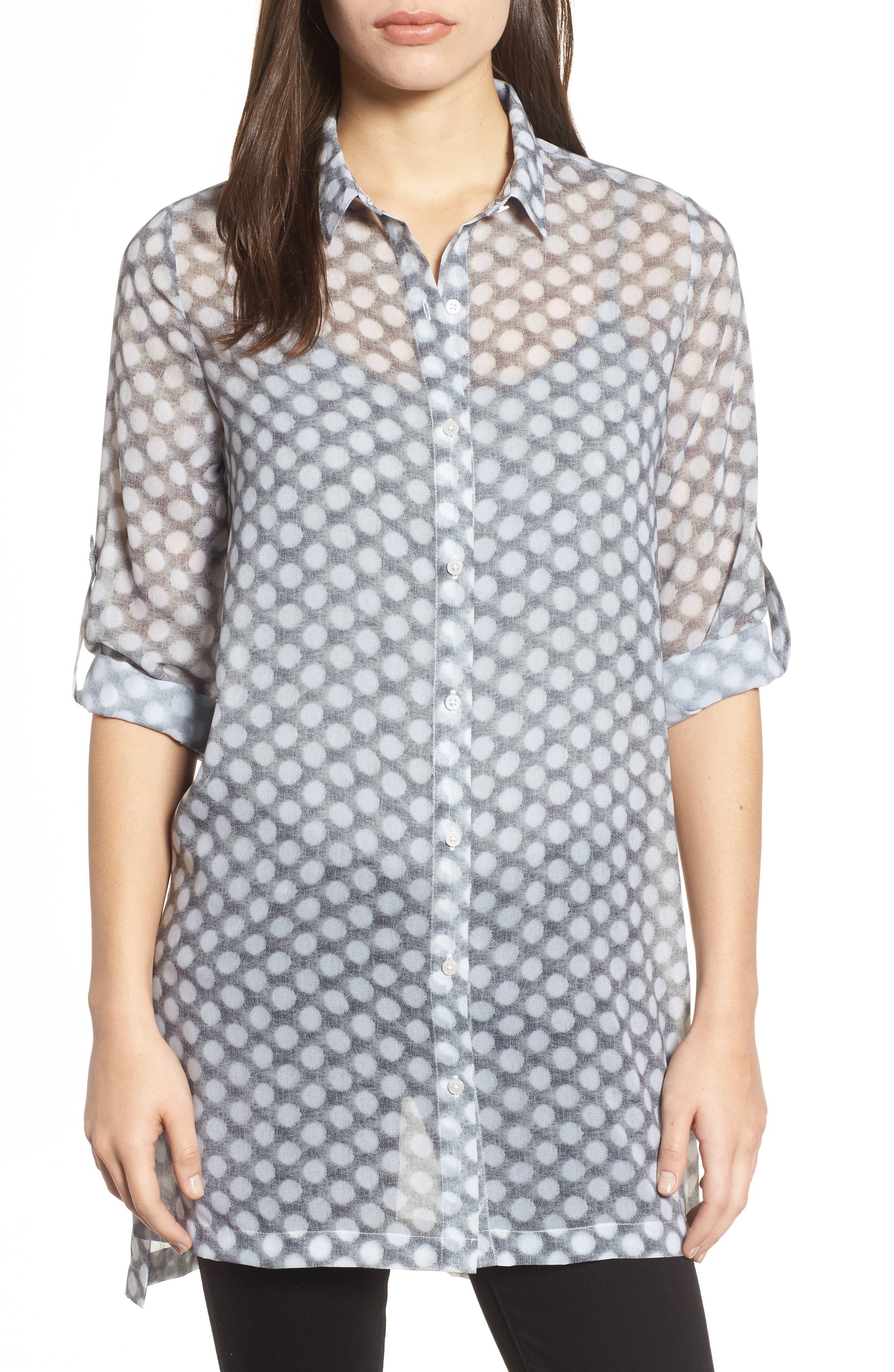 Button Tab Tunic Shirt,                         Main,                         color, Frosty Dot