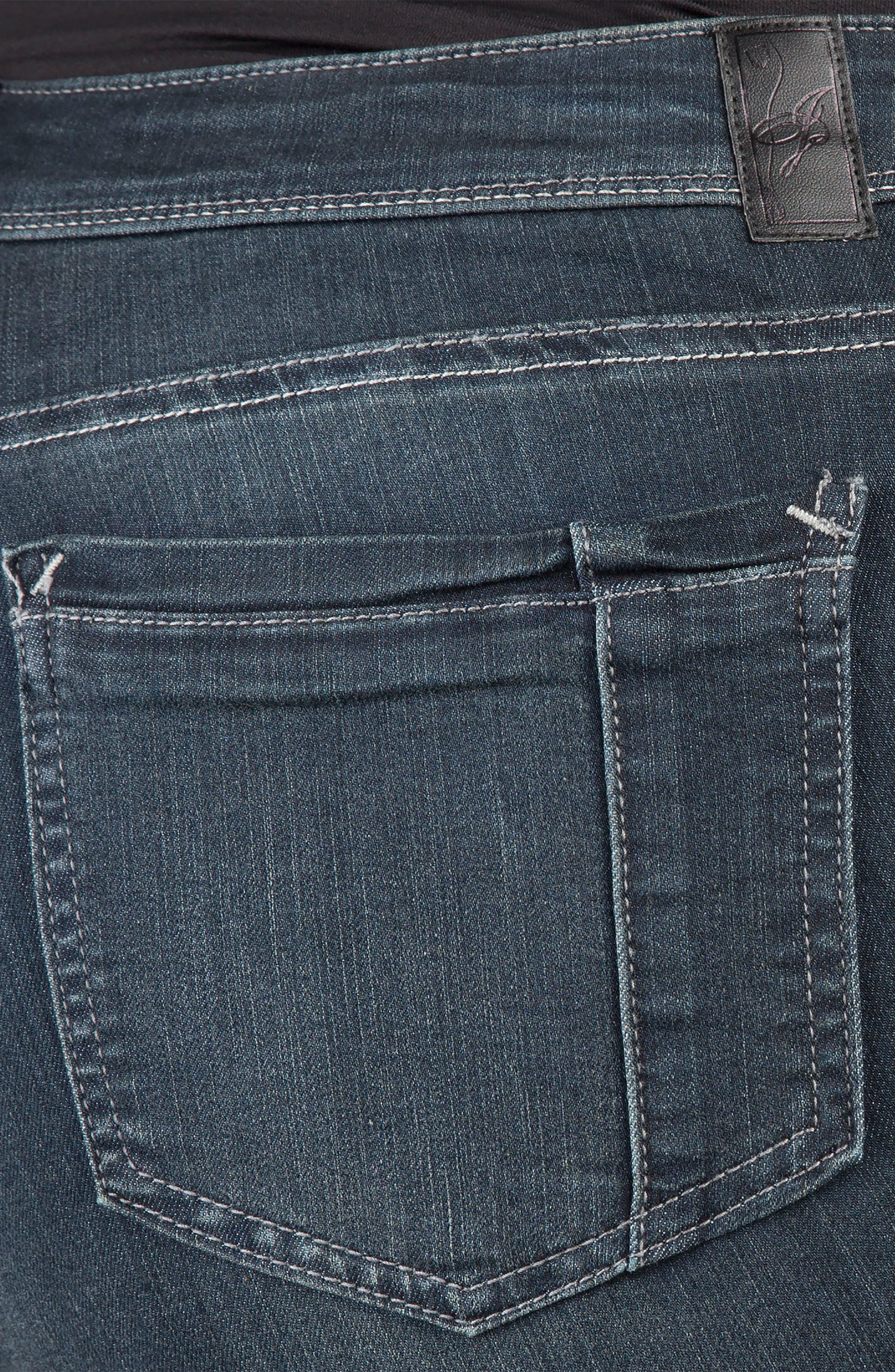 Alternate Image 4  - Poetic Justice 'Maya' Stretch Skinny Jeans (Dark Blue) (Plus Size)