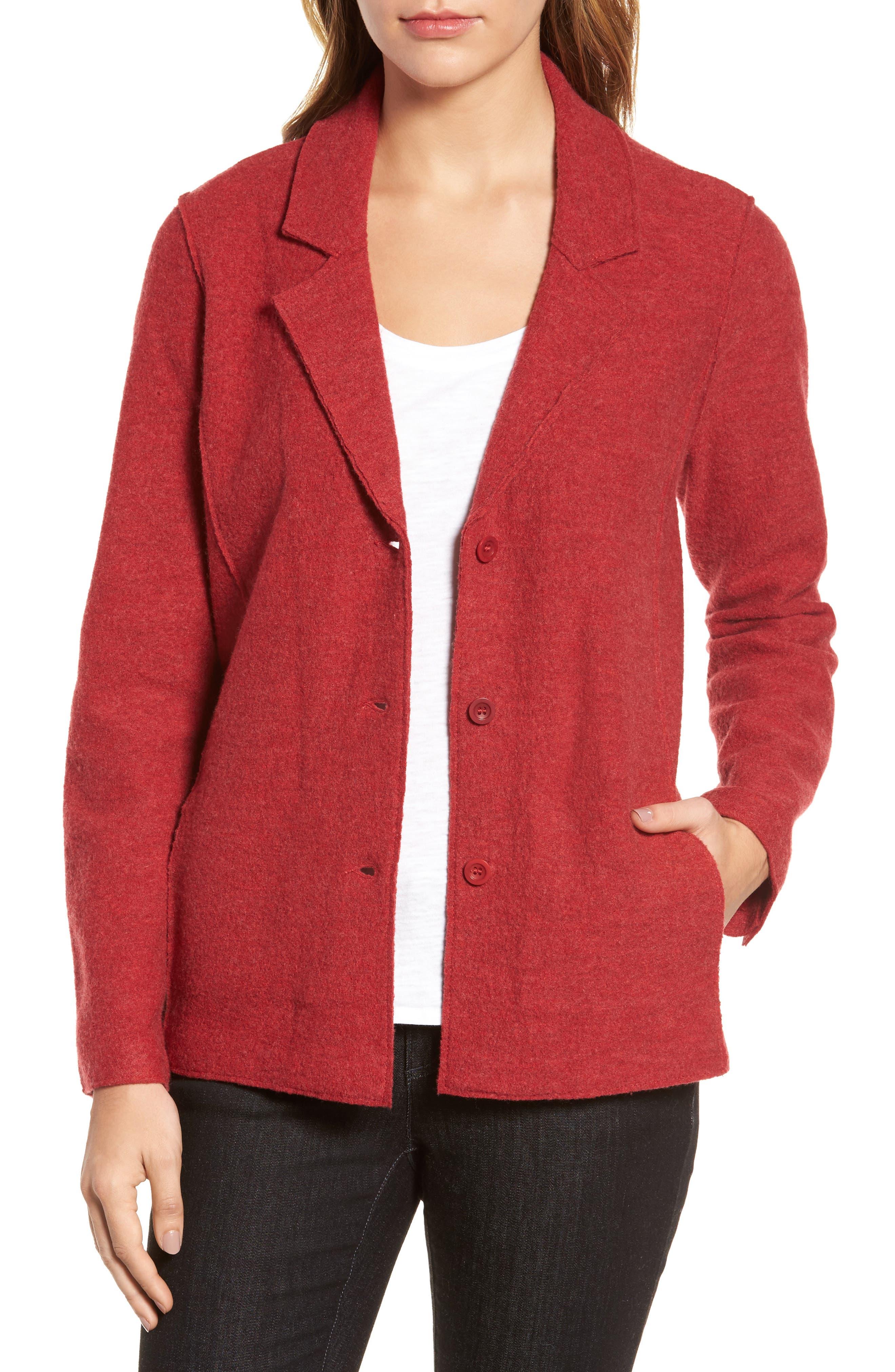 Eileen Fisher Notch Collar Merino Wool Jacket  (Regular & Petite)