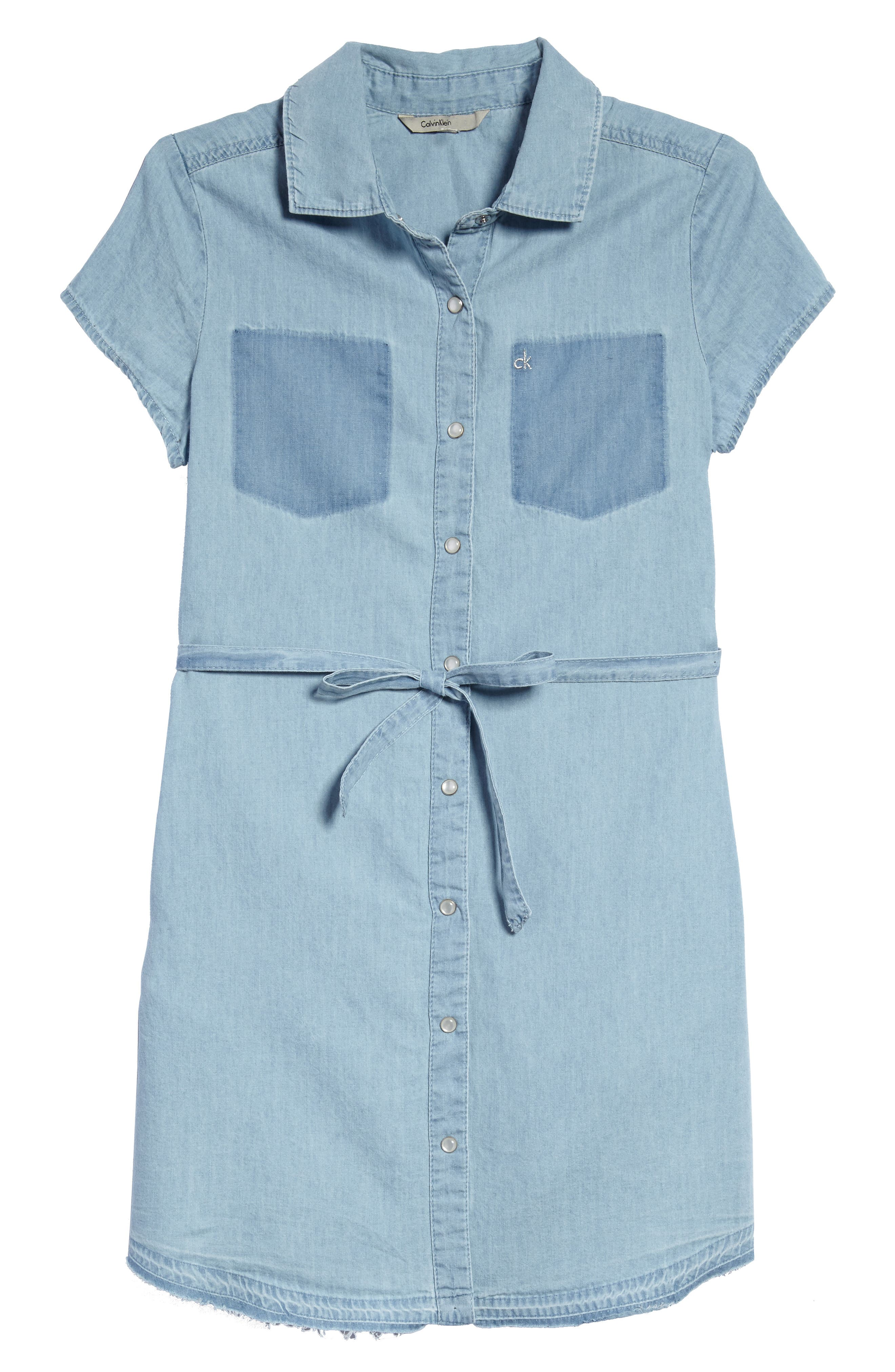 Calvin Klein Release Hem Chambray Shirtdress (Big Girls)