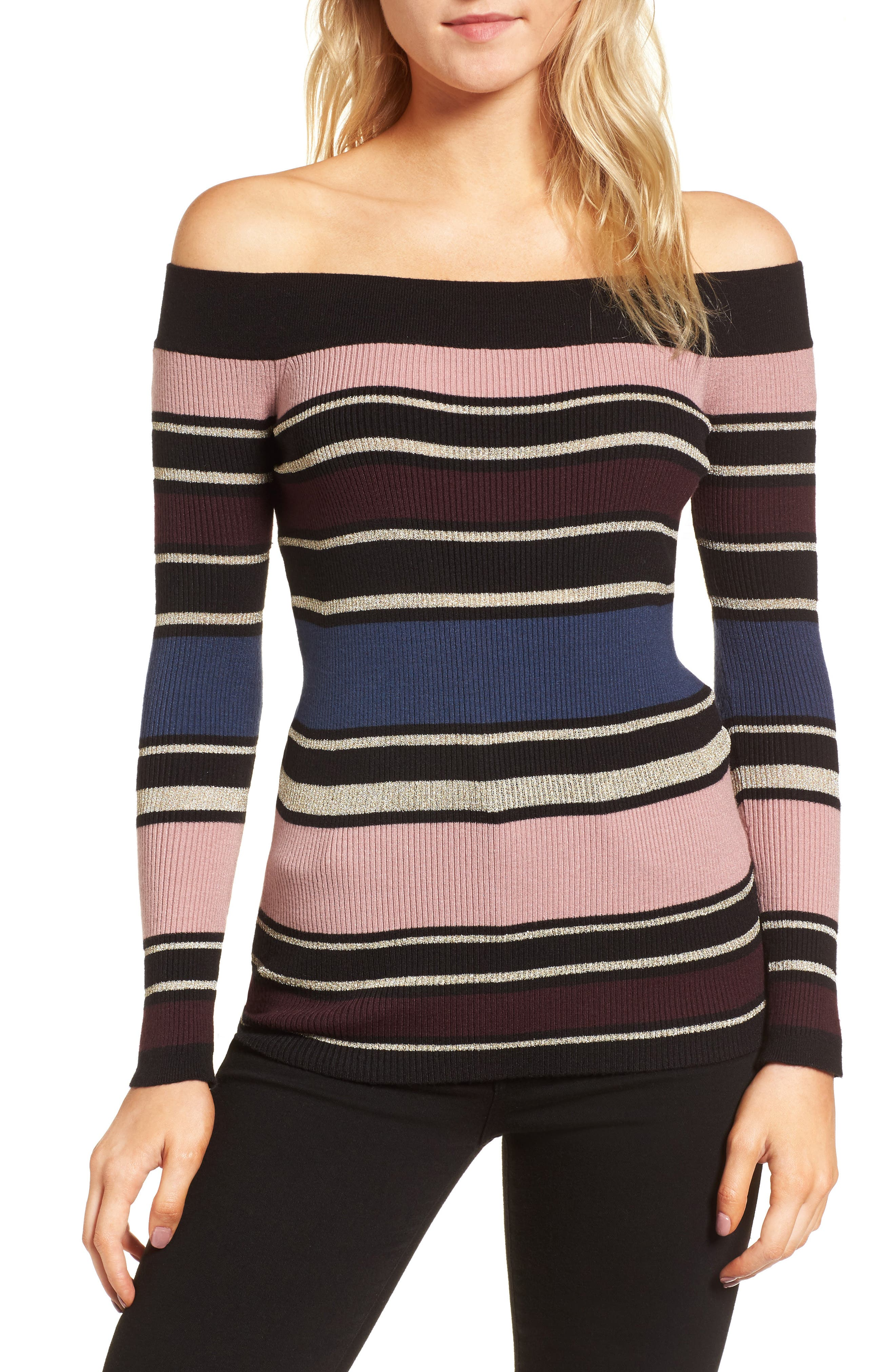 Nadria Off the Shoulder Sweater,                         Main,                         color, Multi
