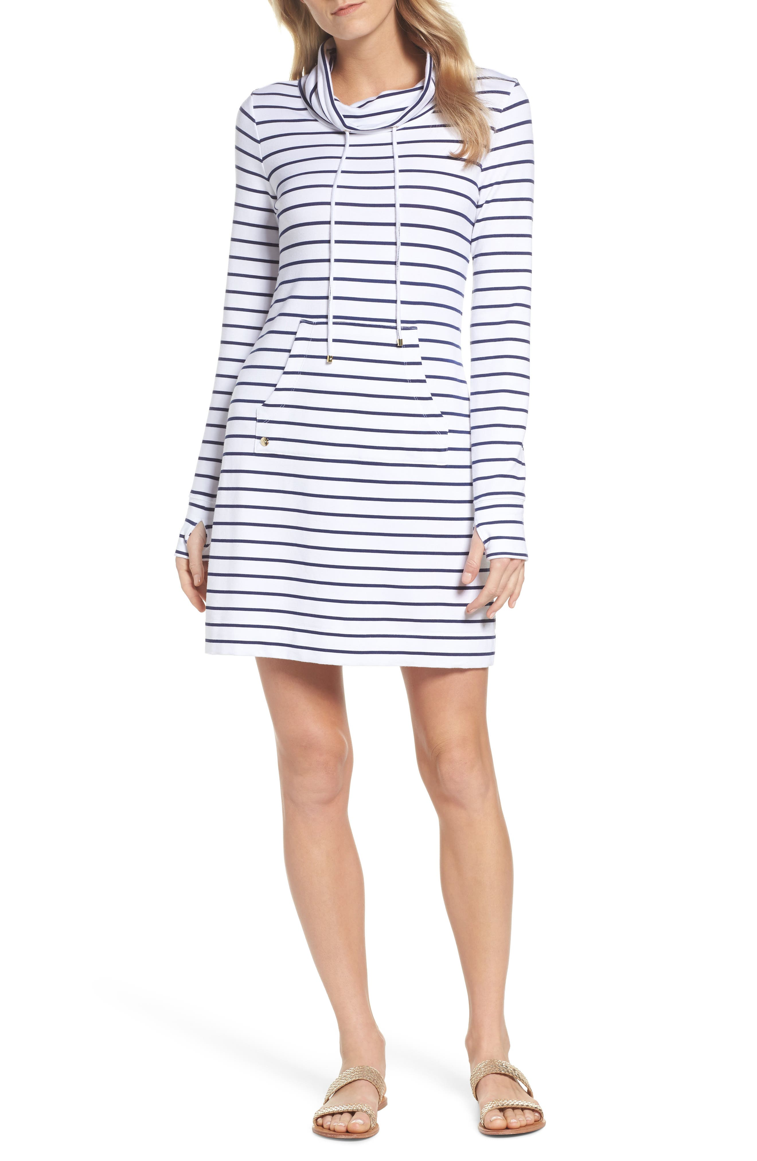 Hilary UPF 50+ Dress,                             Main thumbnail 1, color,                             Bright Navy Mystic Stripe