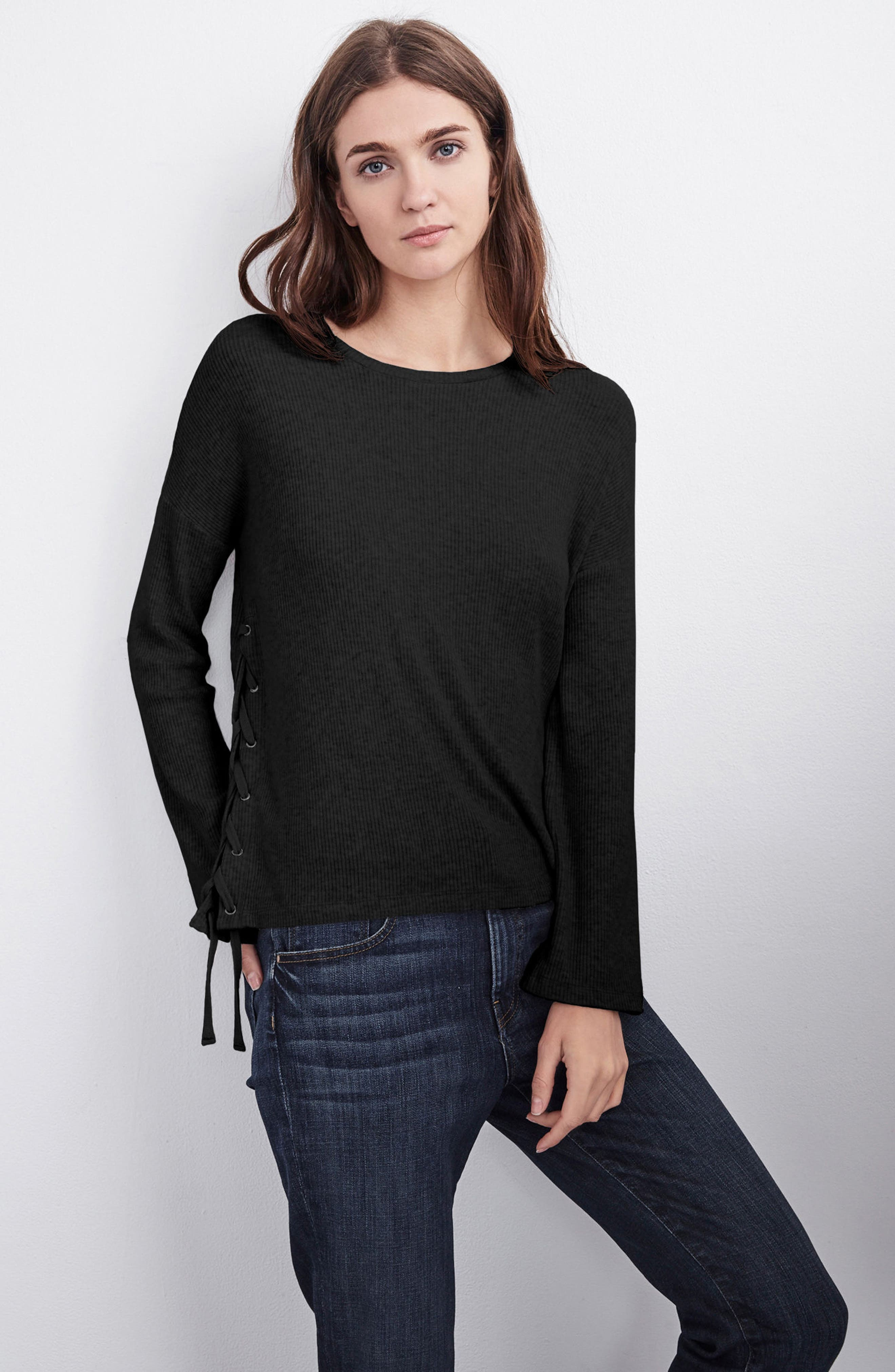 Lace-Up Pullover,                             Alternate thumbnail 7, color,                             Black