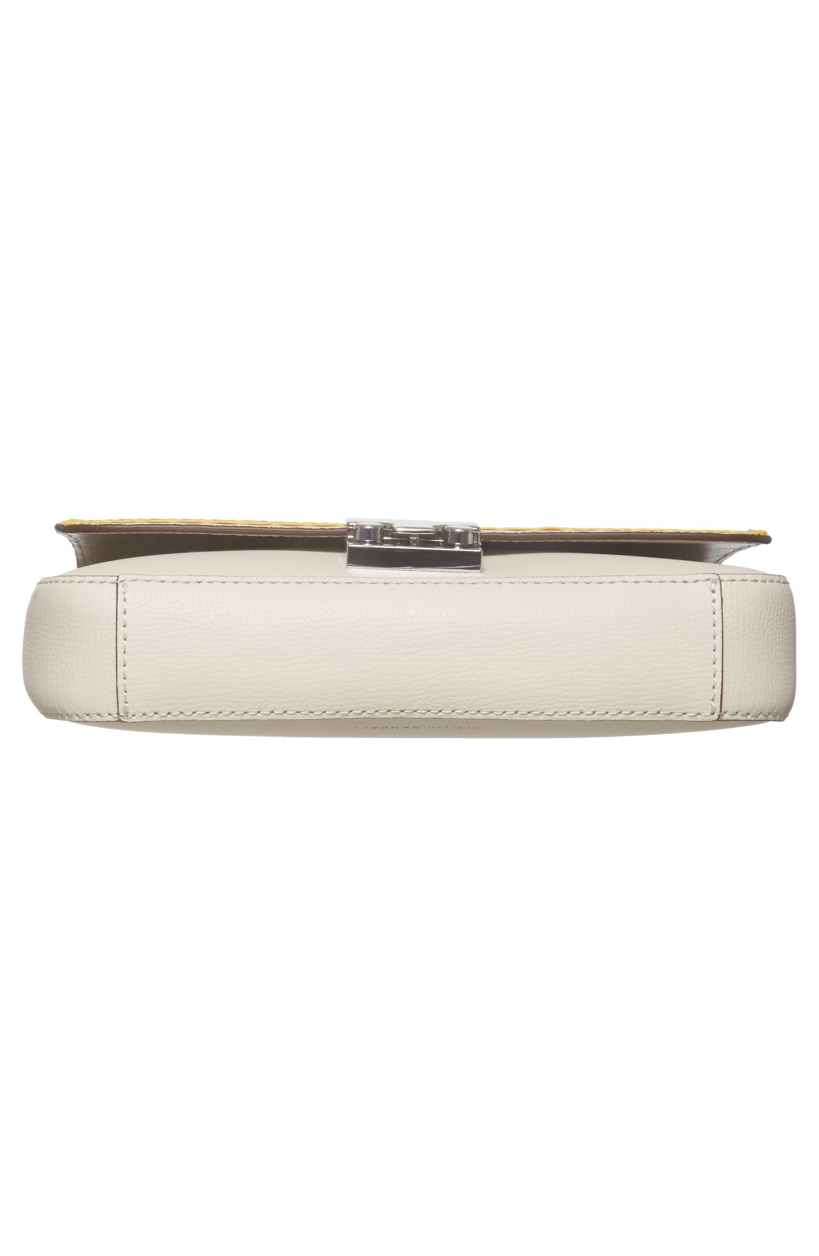 Lock Leather Flap Clutch/Shoulder Bag,                             Alternate thumbnail 6, color,                             Stone/ Rainbow