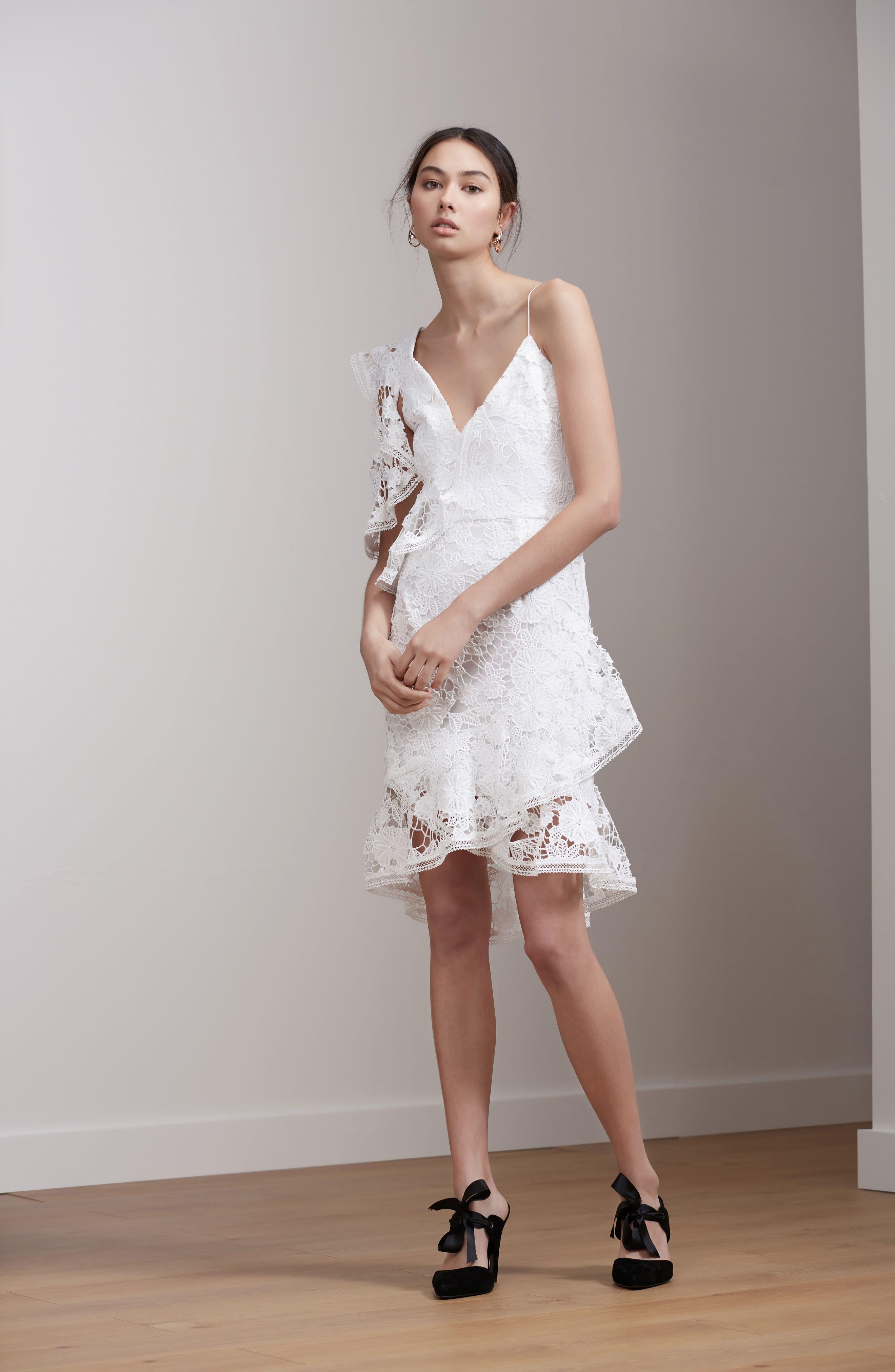 Frameless Lace Sheath Dress,                             Alternate thumbnail 2, color,                             Ivory