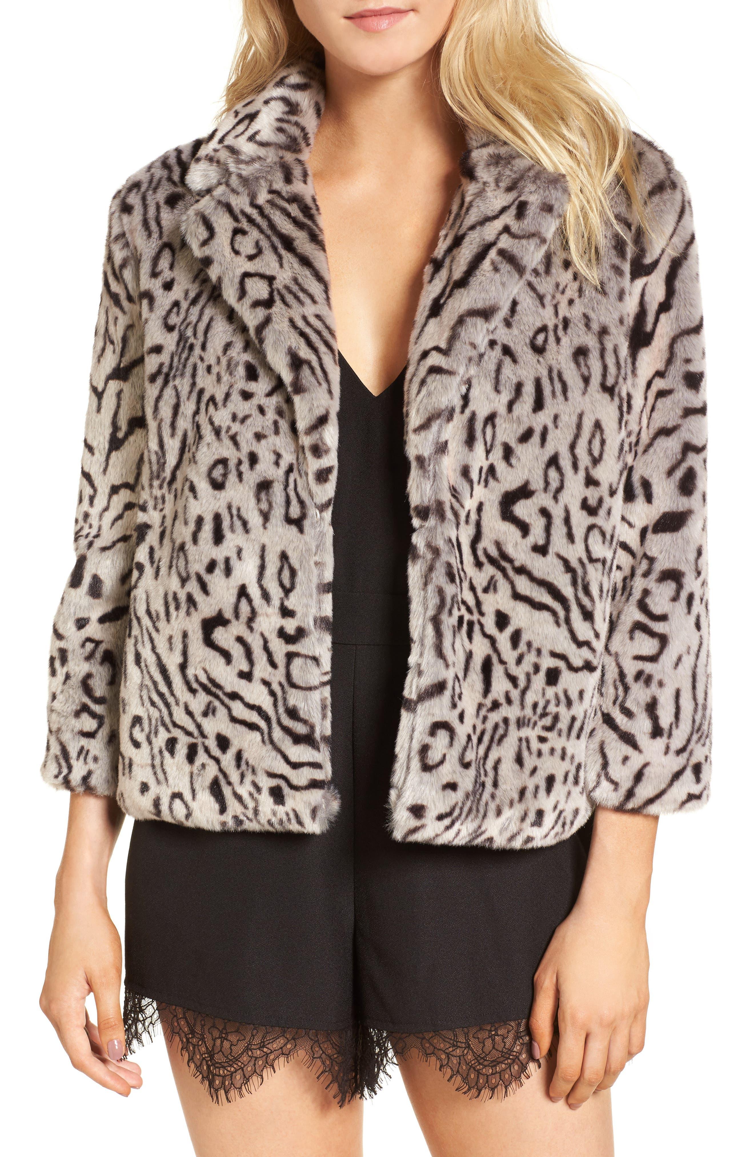 Belle Faux Fur Jacket,                             Main thumbnail 1, color,                             Snow Leopard