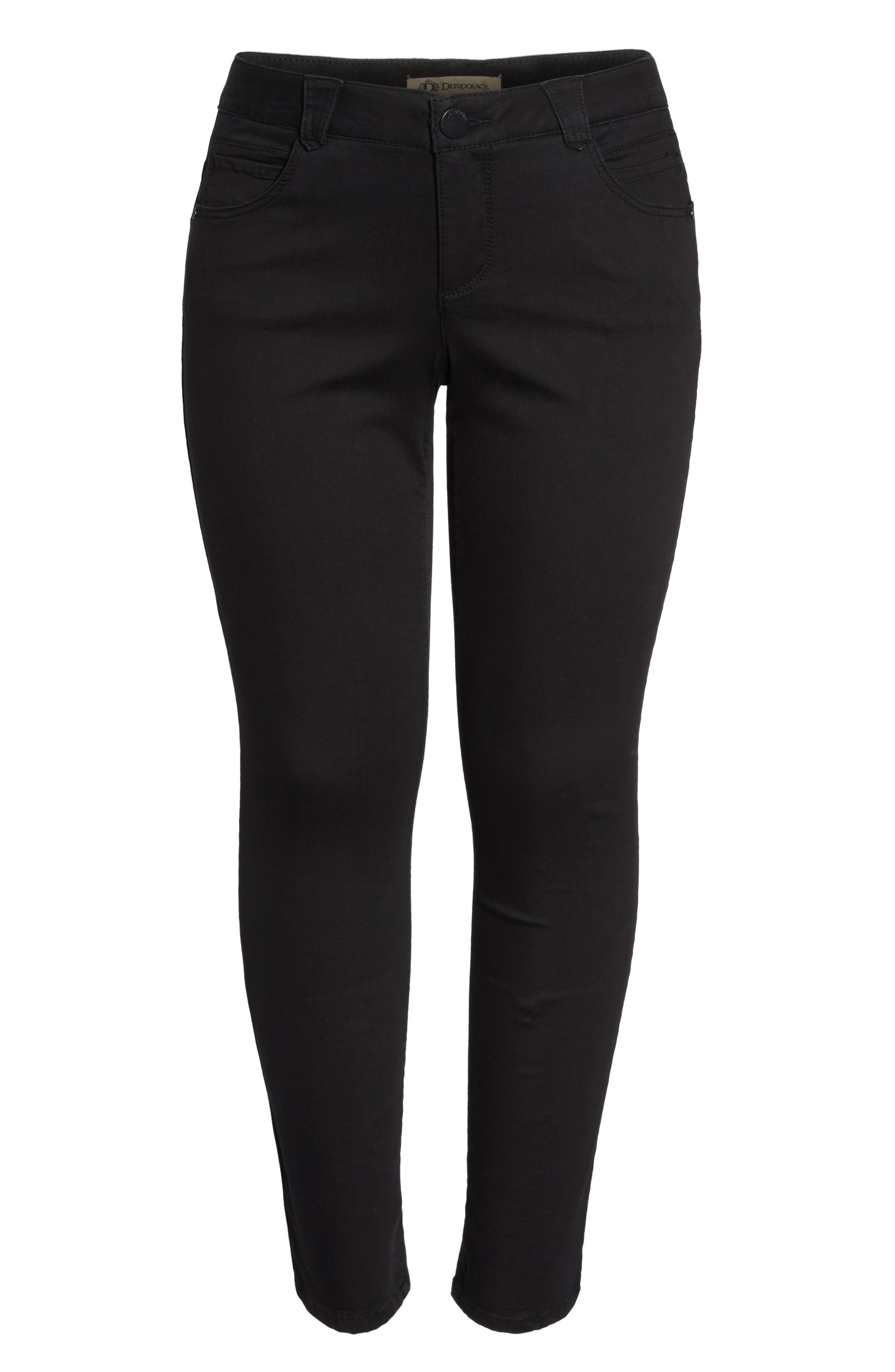 Ab-Solution Stretch Straight Leg Jeans,                             Alternate thumbnail 6, color,                             Black