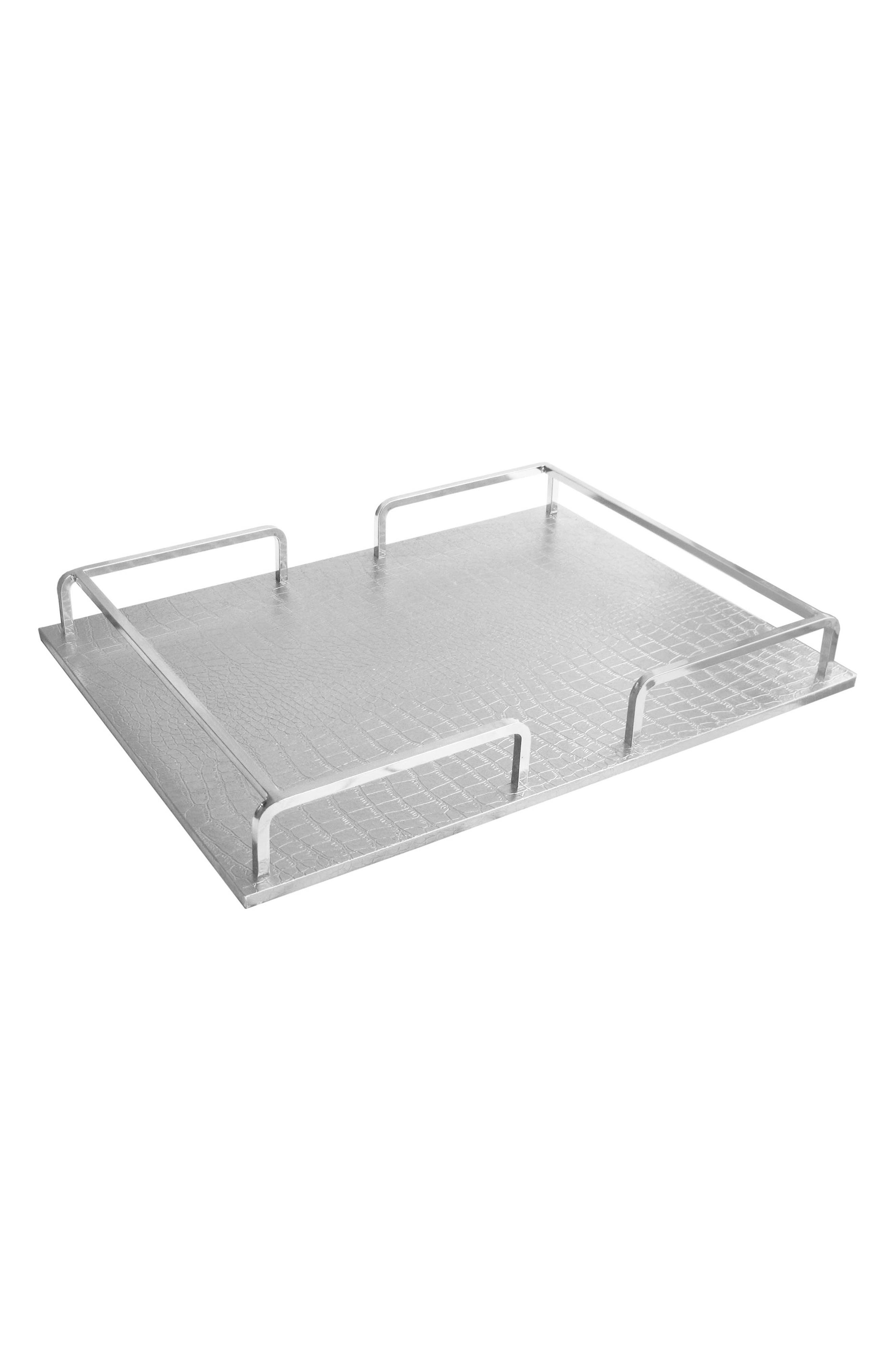 Croc Embossed Serving Tray,                             Main thumbnail 1, color,                             Silver