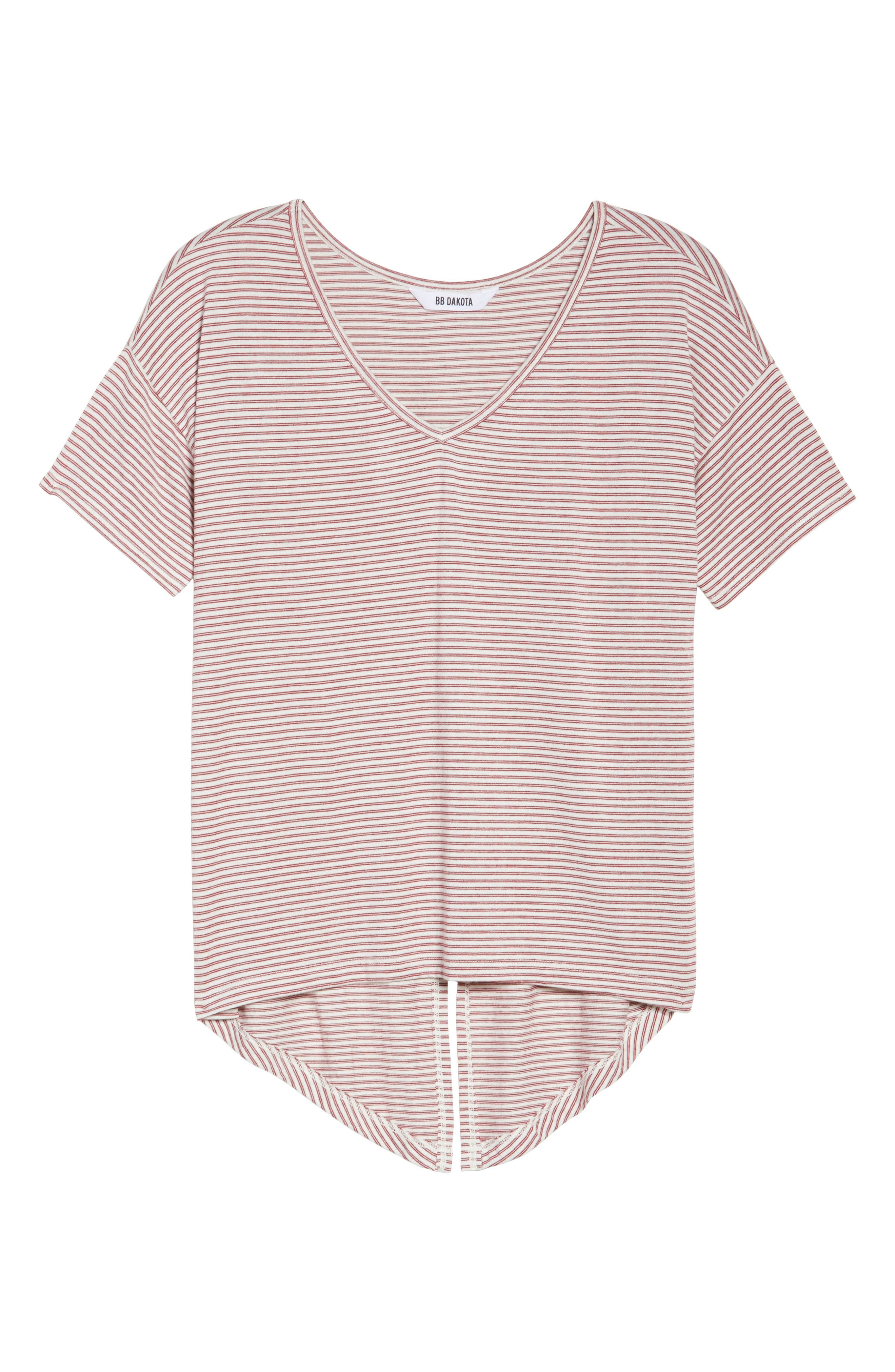 Wilona Back Tie Stripe Tee,                             Alternate thumbnail 4, color,                             Red/ White