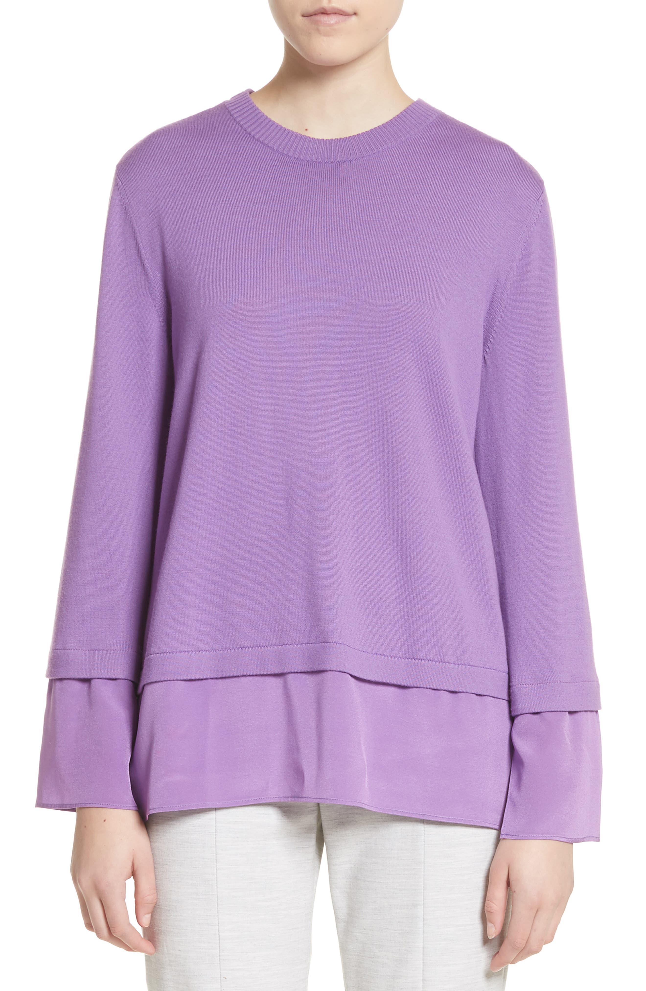 Layered Hem Wool Sweater,                             Main thumbnail 1, color,                             Deep Orchid
