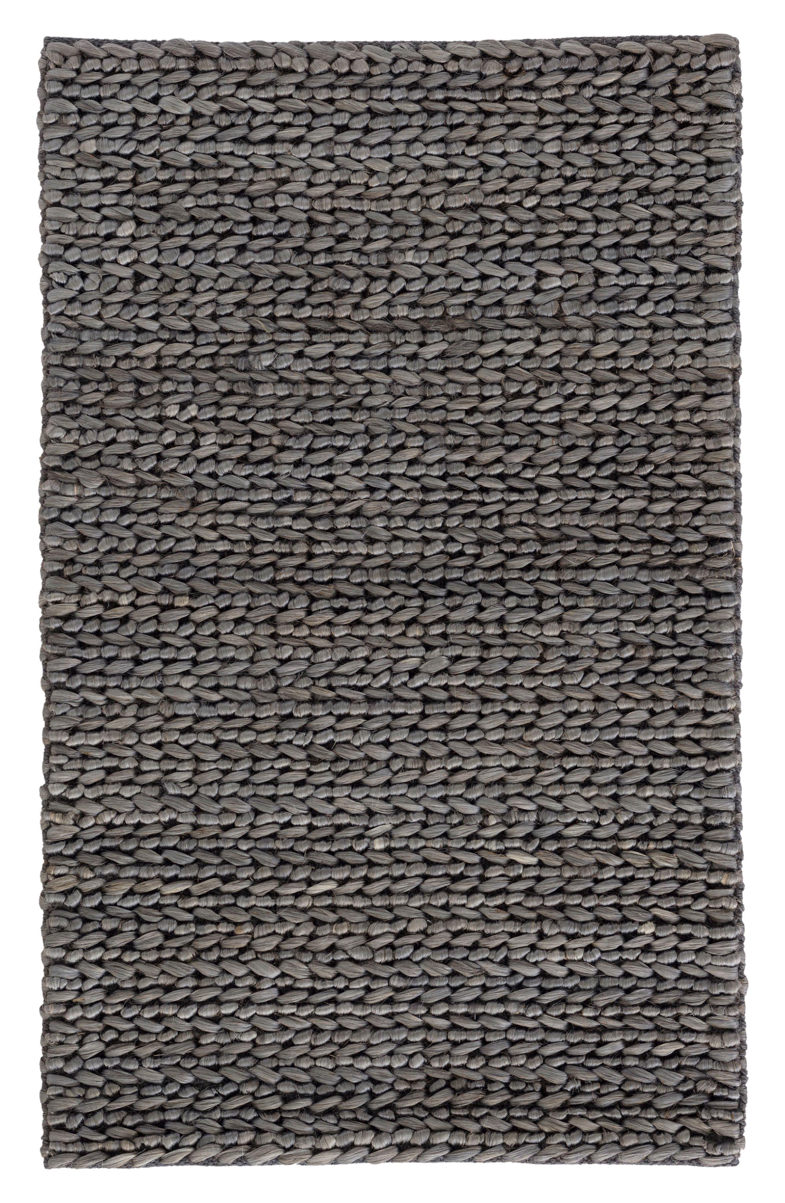 Woven Jute & Cotton Rug,                         Main,                         color, Grey