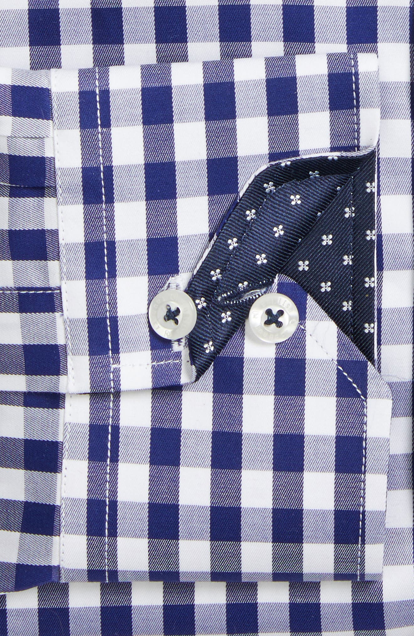 Trim Fit Check Dress Shirt,                             Alternate thumbnail 2, color,                             Navy