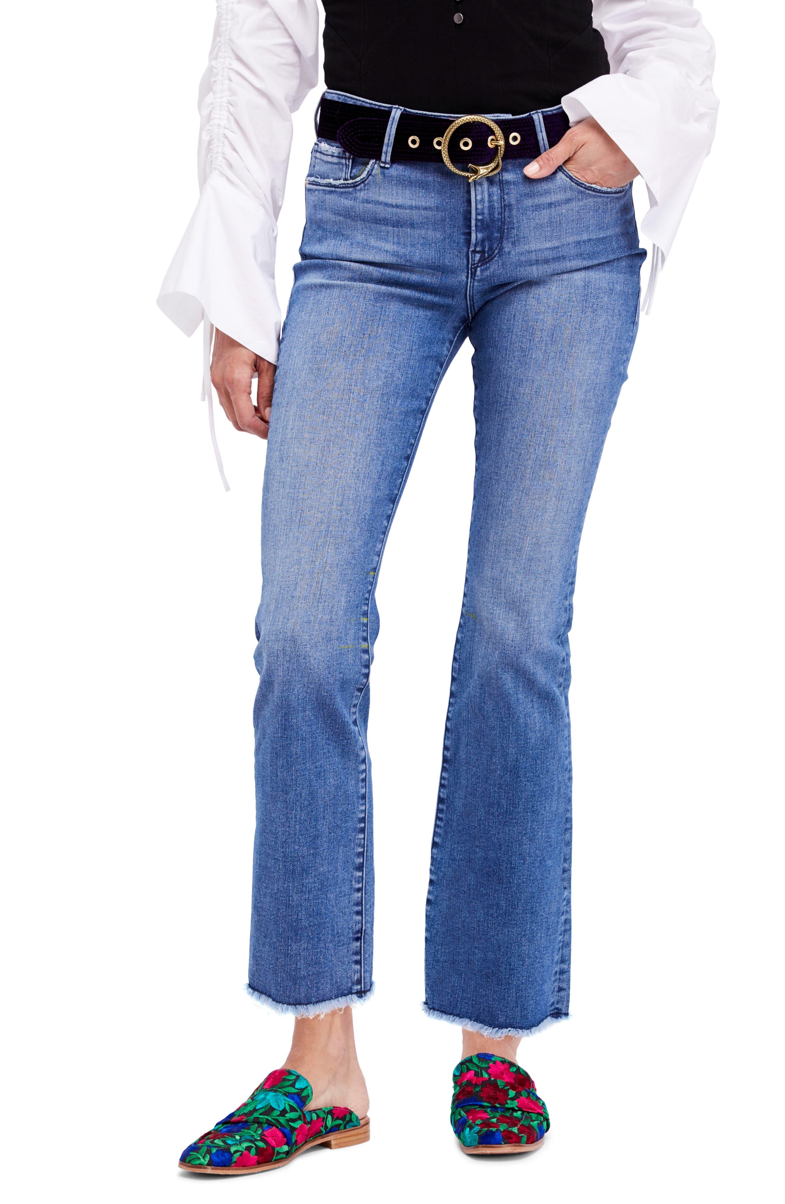 High Waist Crop Straight Leg Jeans,                             Main thumbnail 1, color,                             Blue
