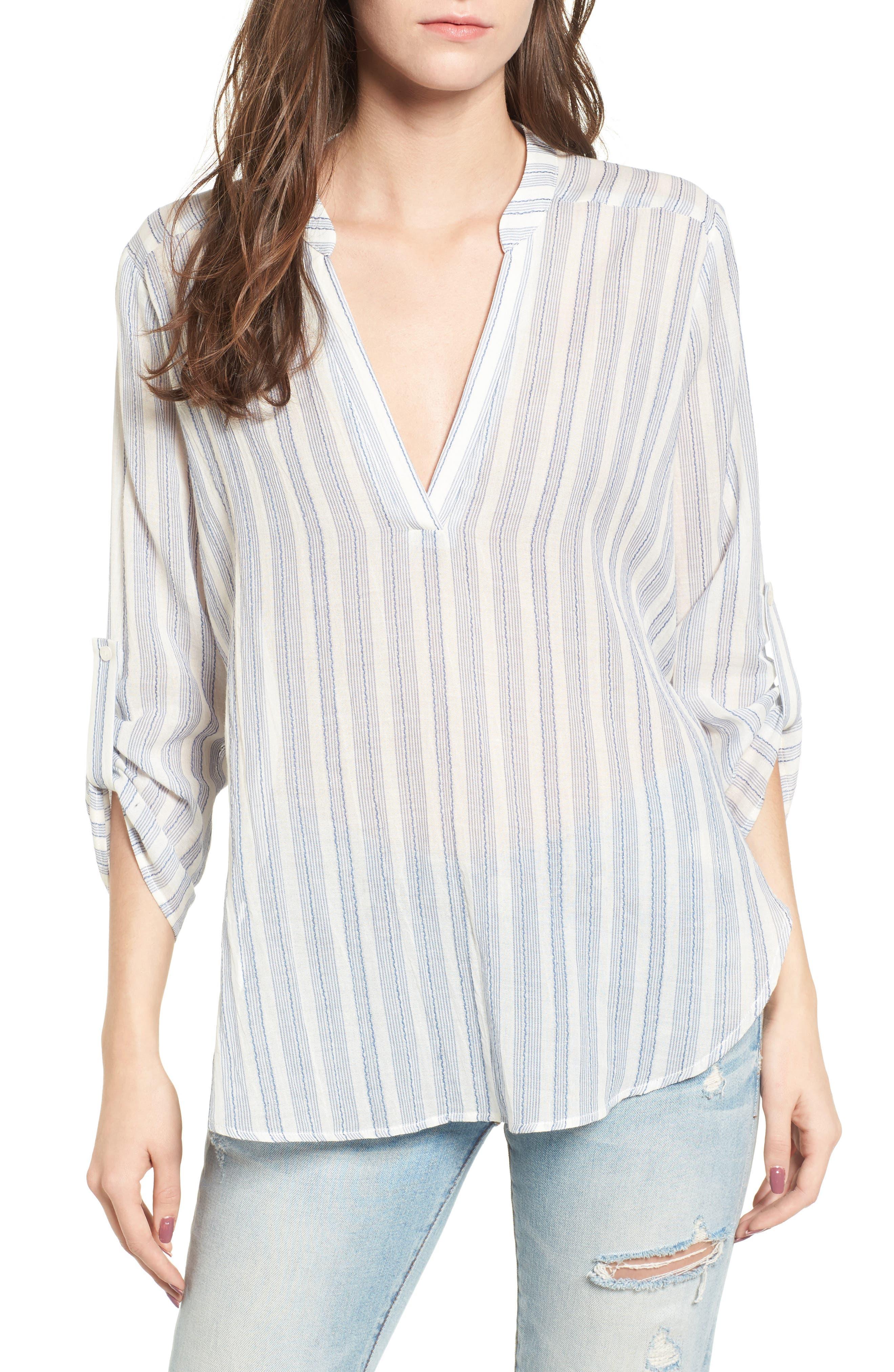 Stripe Cotton Split Neck Top,                             Main thumbnail 1, color,                             Blue/ White Stripe