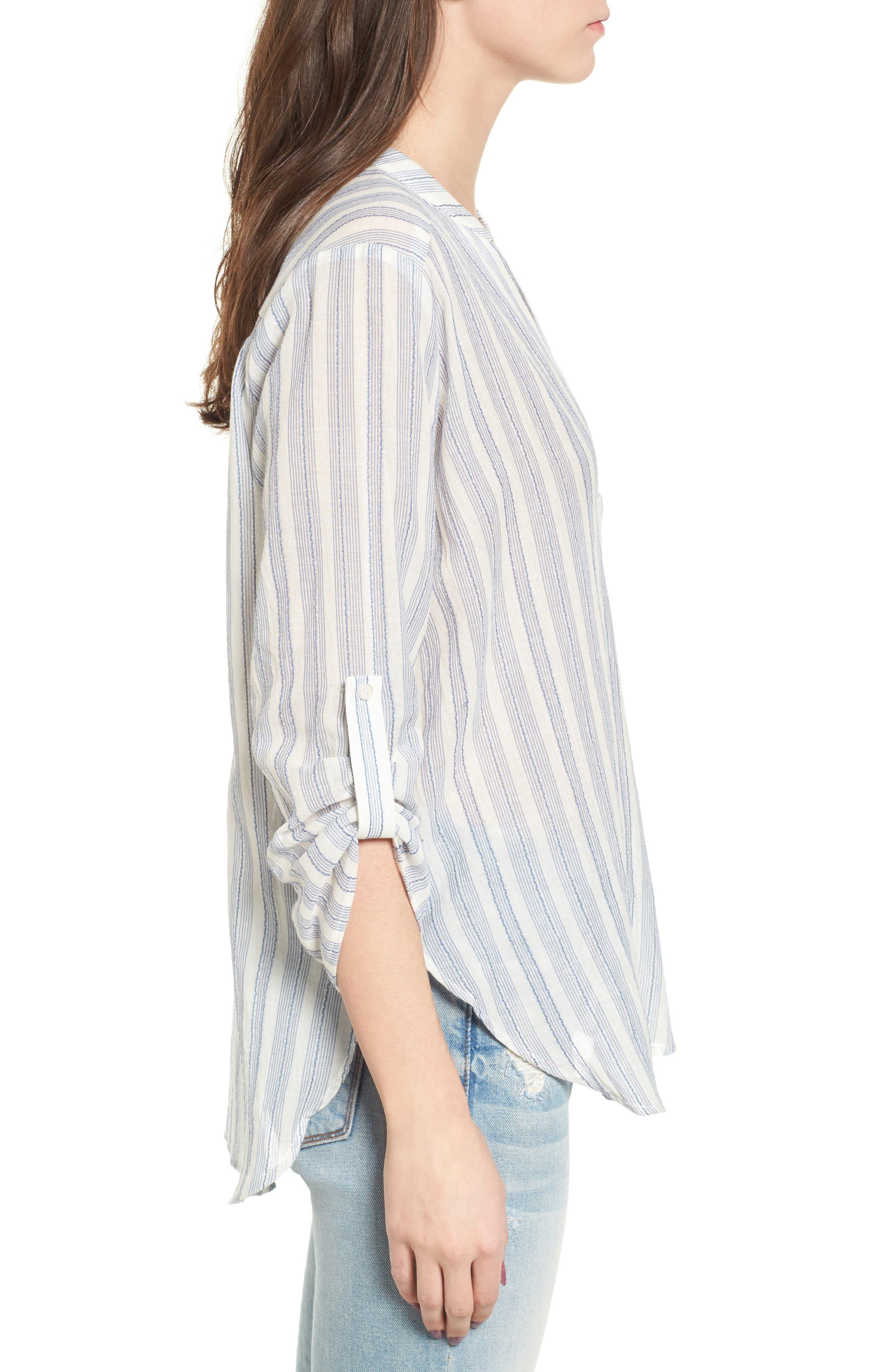 Stripe Cotton Split Neck Top,                             Alternate thumbnail 3, color,                             Blue/ White Stripe