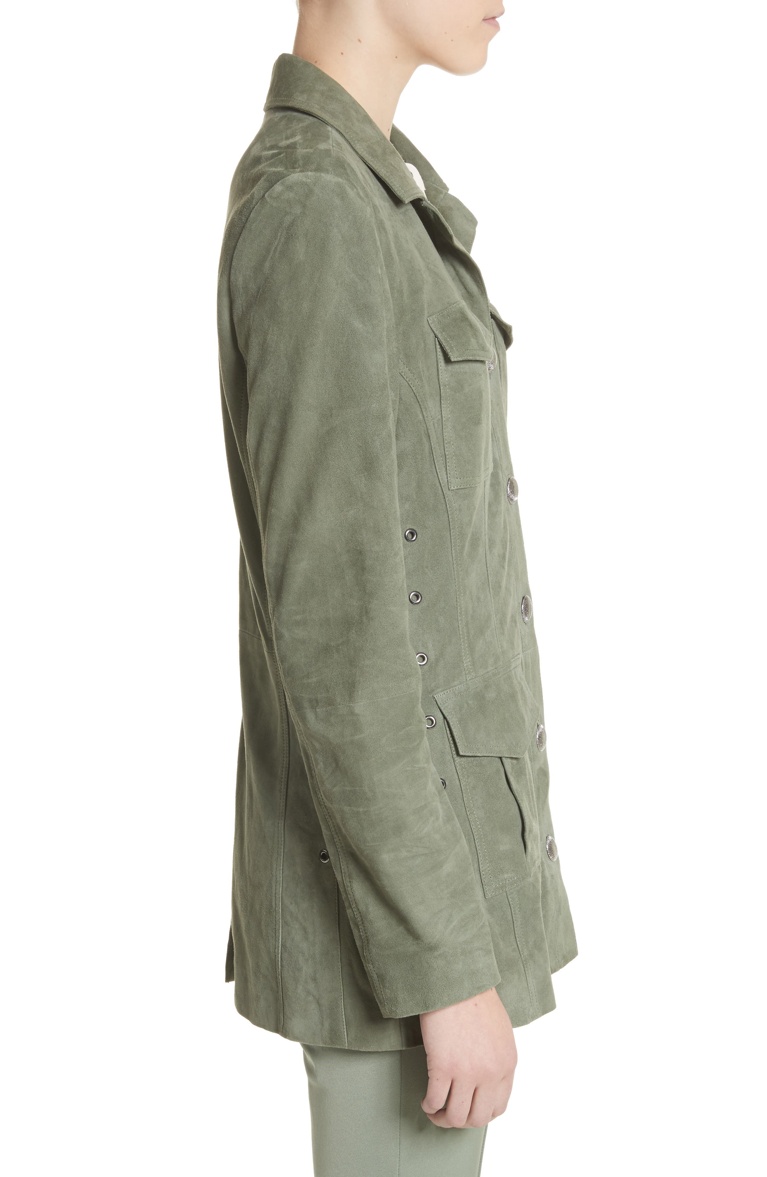 Suede Safari Jacket,                             Alternate thumbnail 3, color,                             Dark Mint