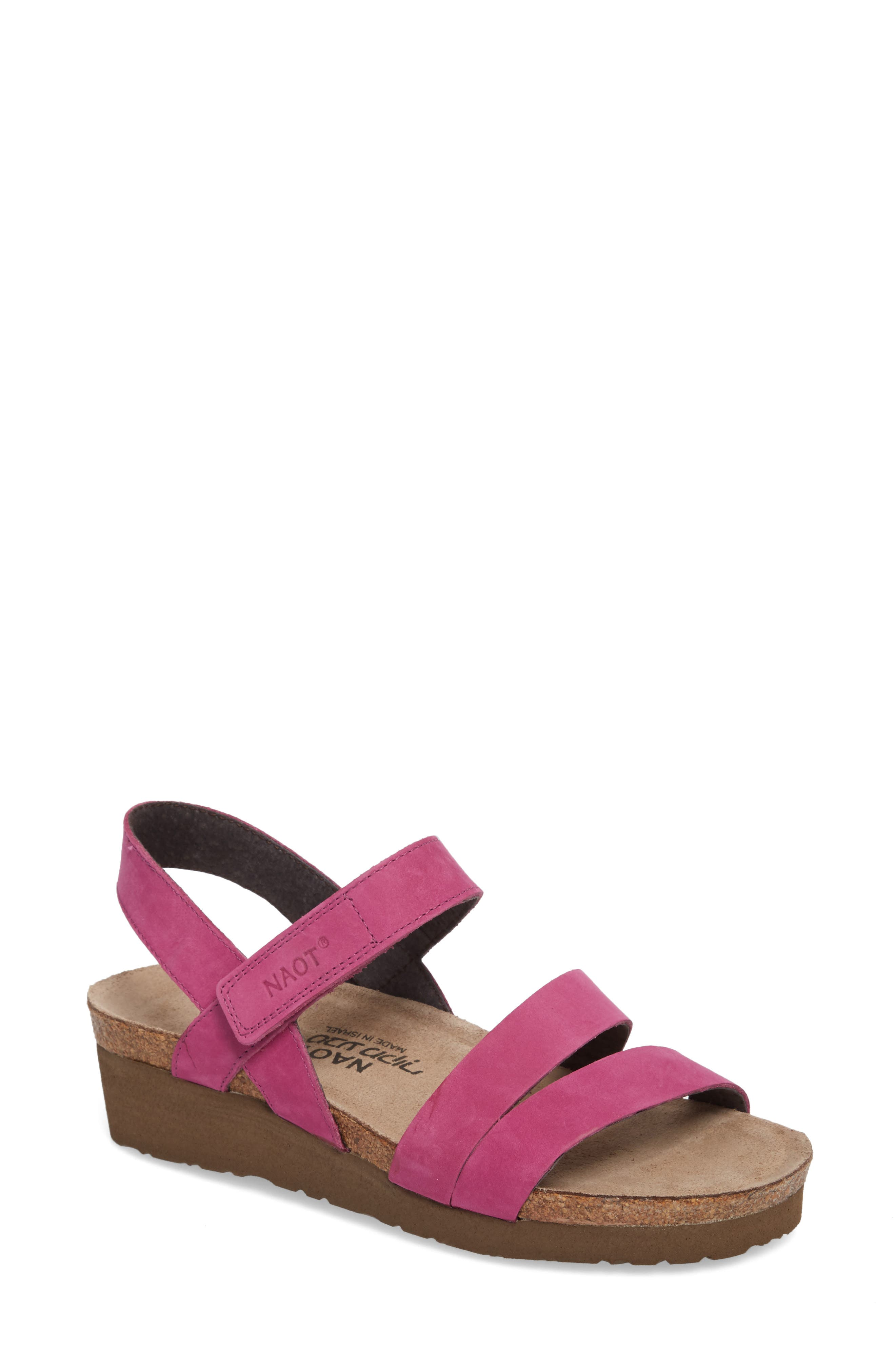 'Kayla' Sandal,                         Main,                         color, Pink Plum Nubuck